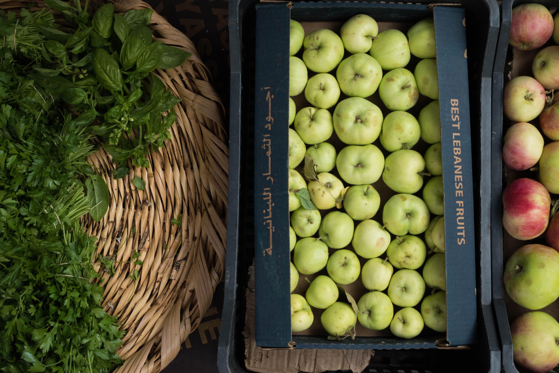 green fruit lot in box