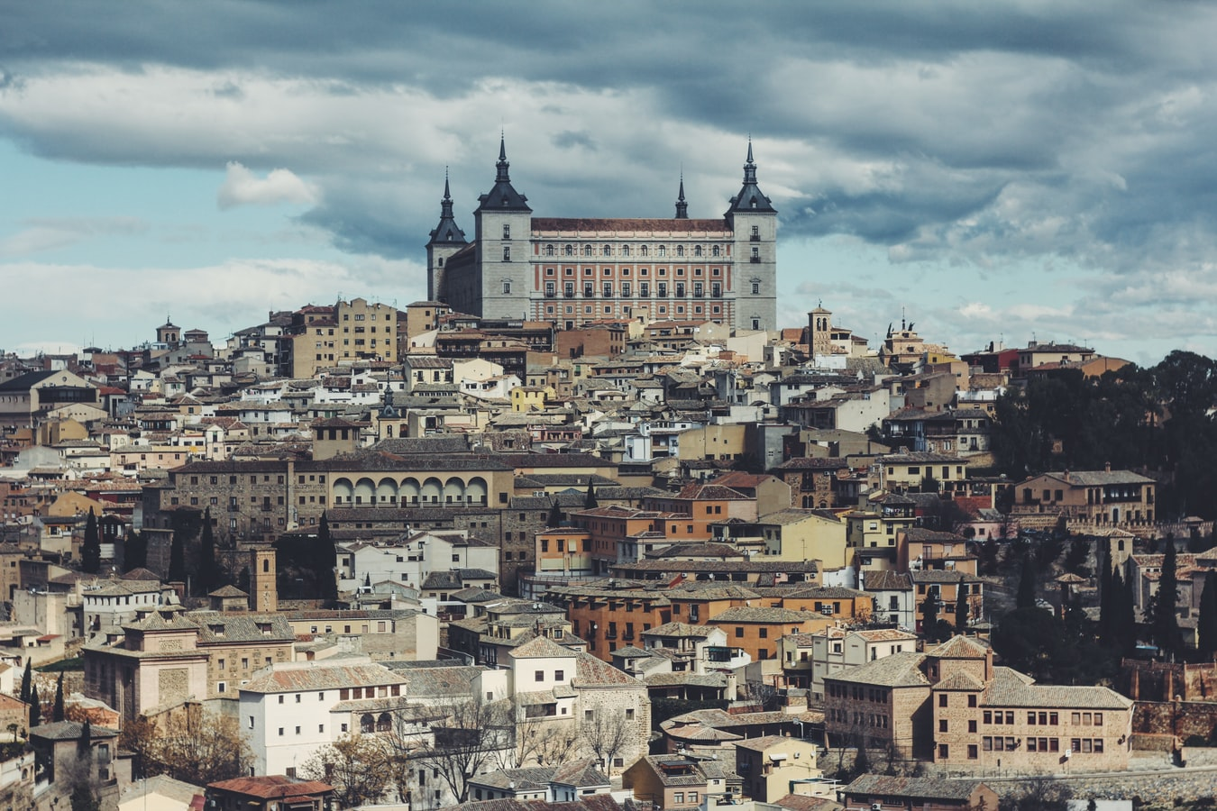 A cathedral on a hill in Toledo, Spain