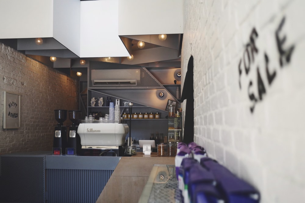 selective photo of white and black kitchen interior