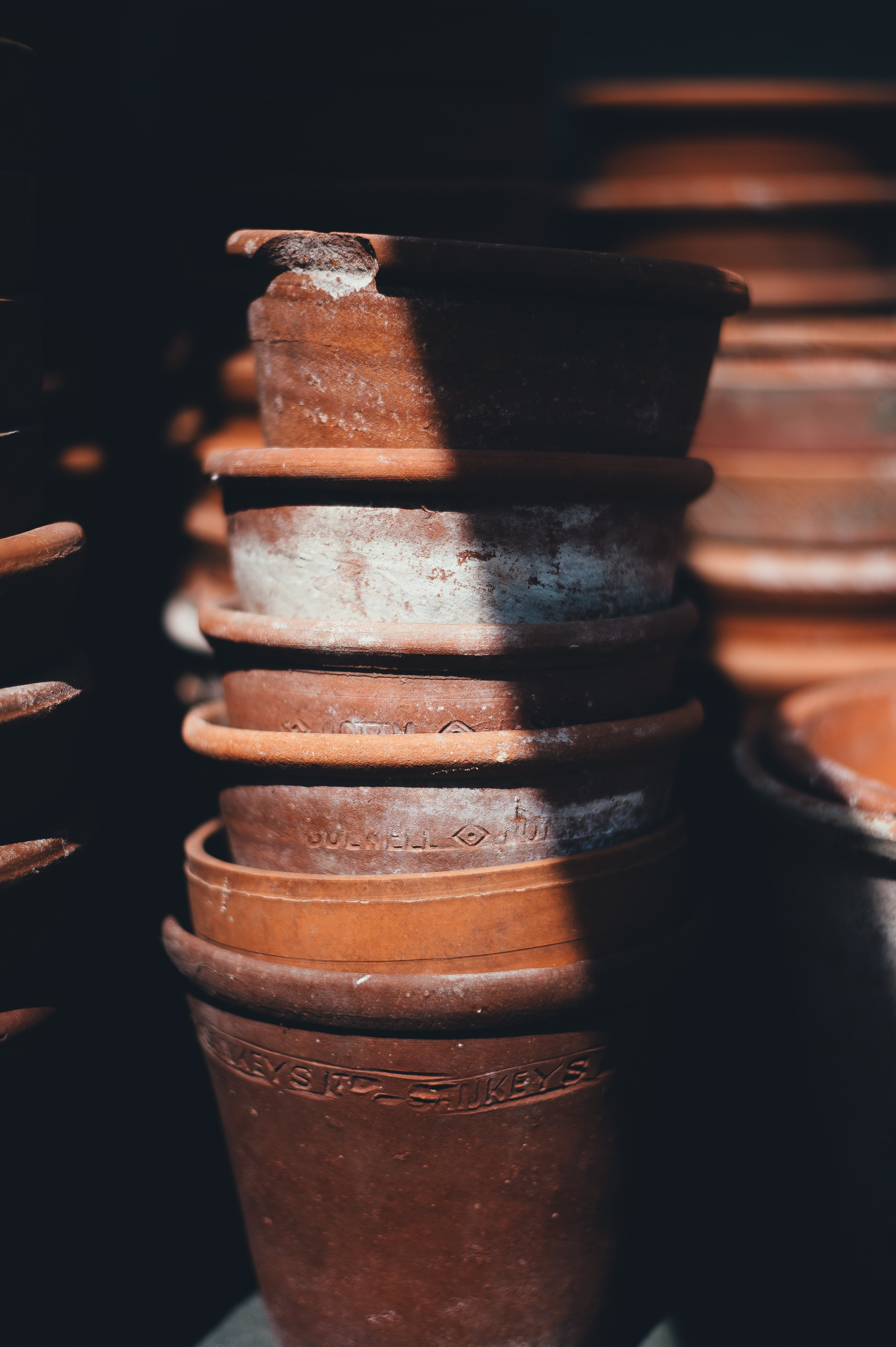 brown stack clay pot lot