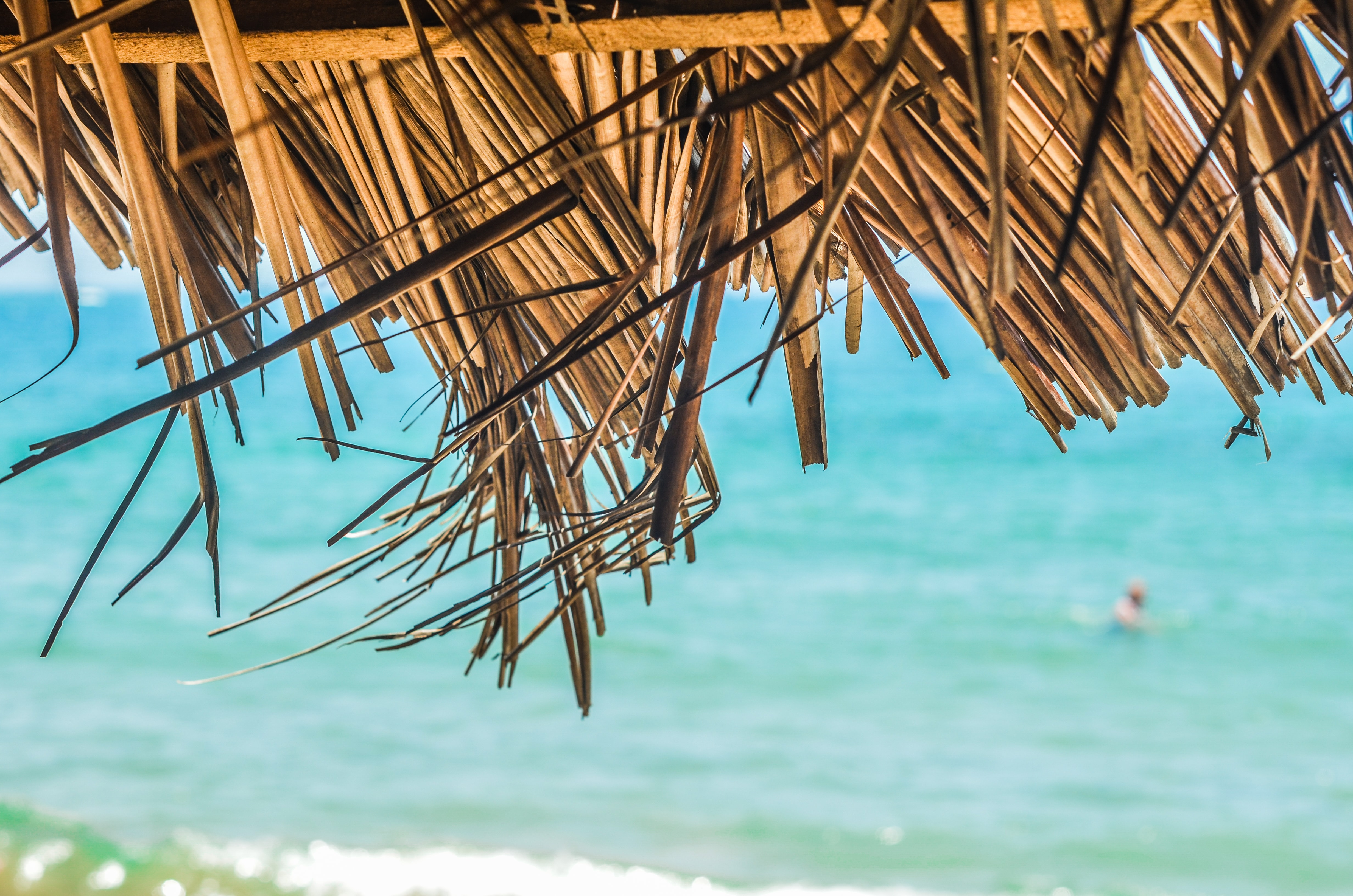 A close-up of a thatched roof by the sea with a person swimming in the blurry background