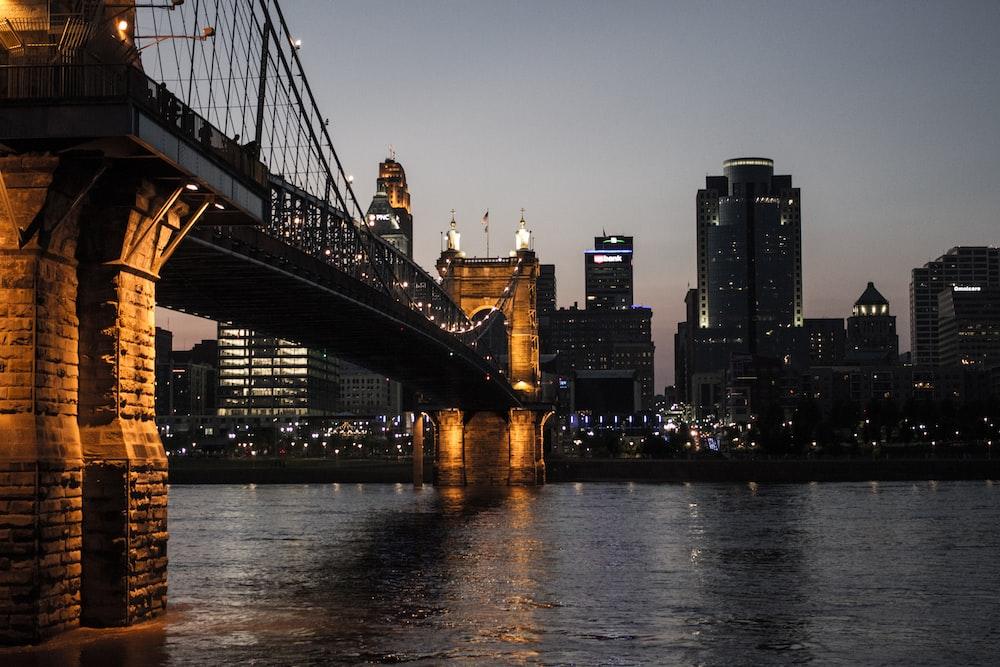 bridge at night low angle photography