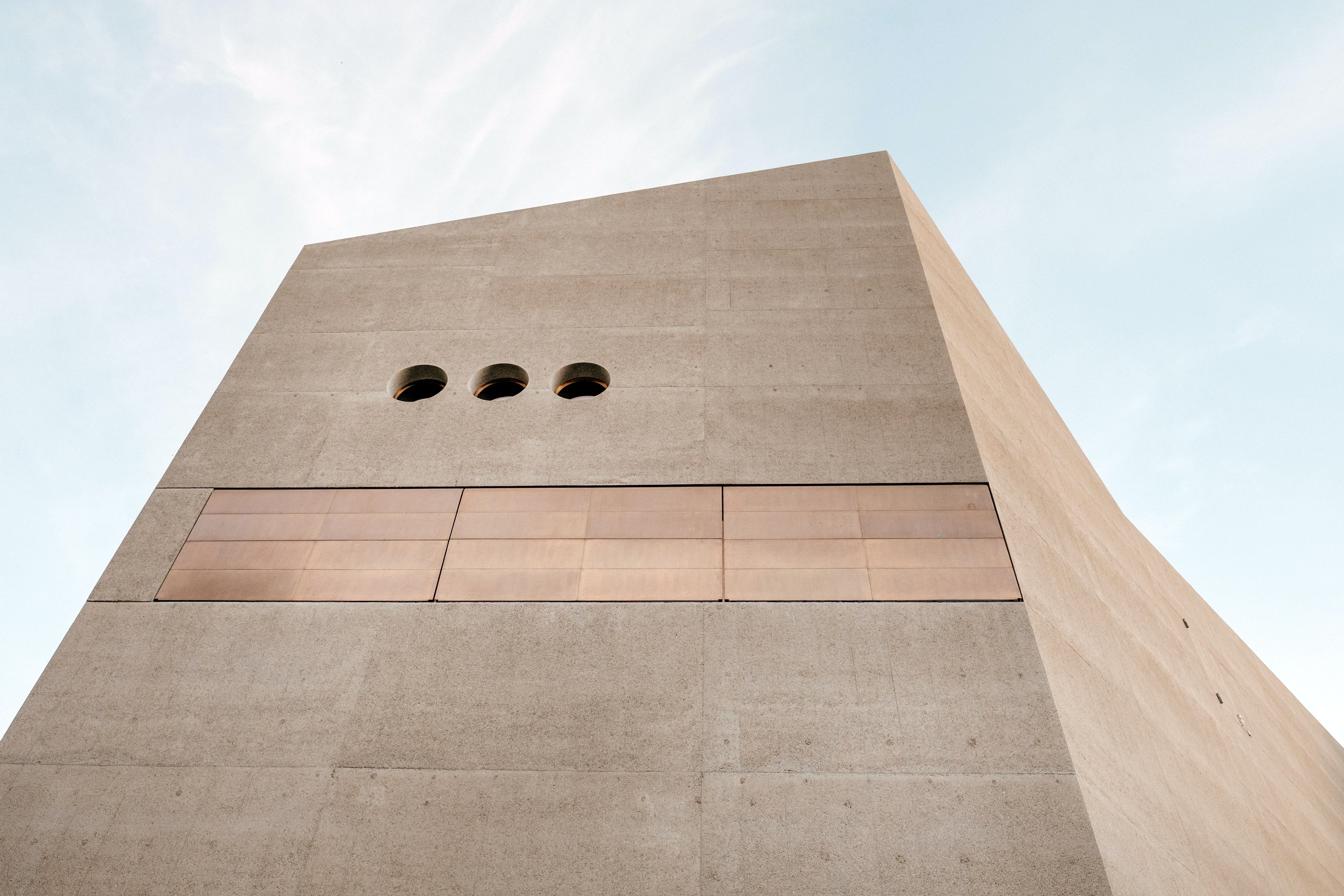 A large concrete slab of the Swiss National Museum building