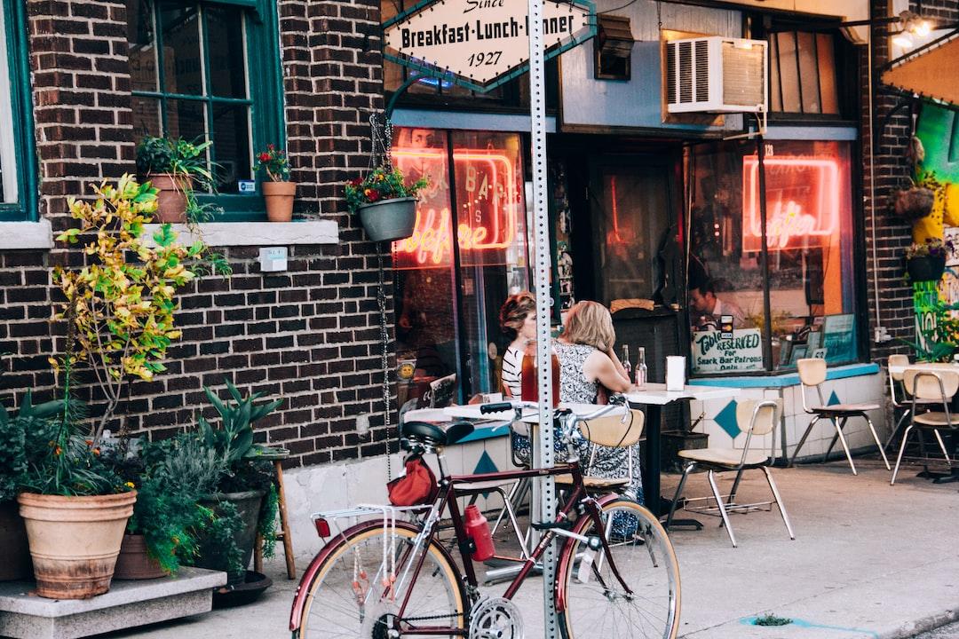 Cozy café entrance
