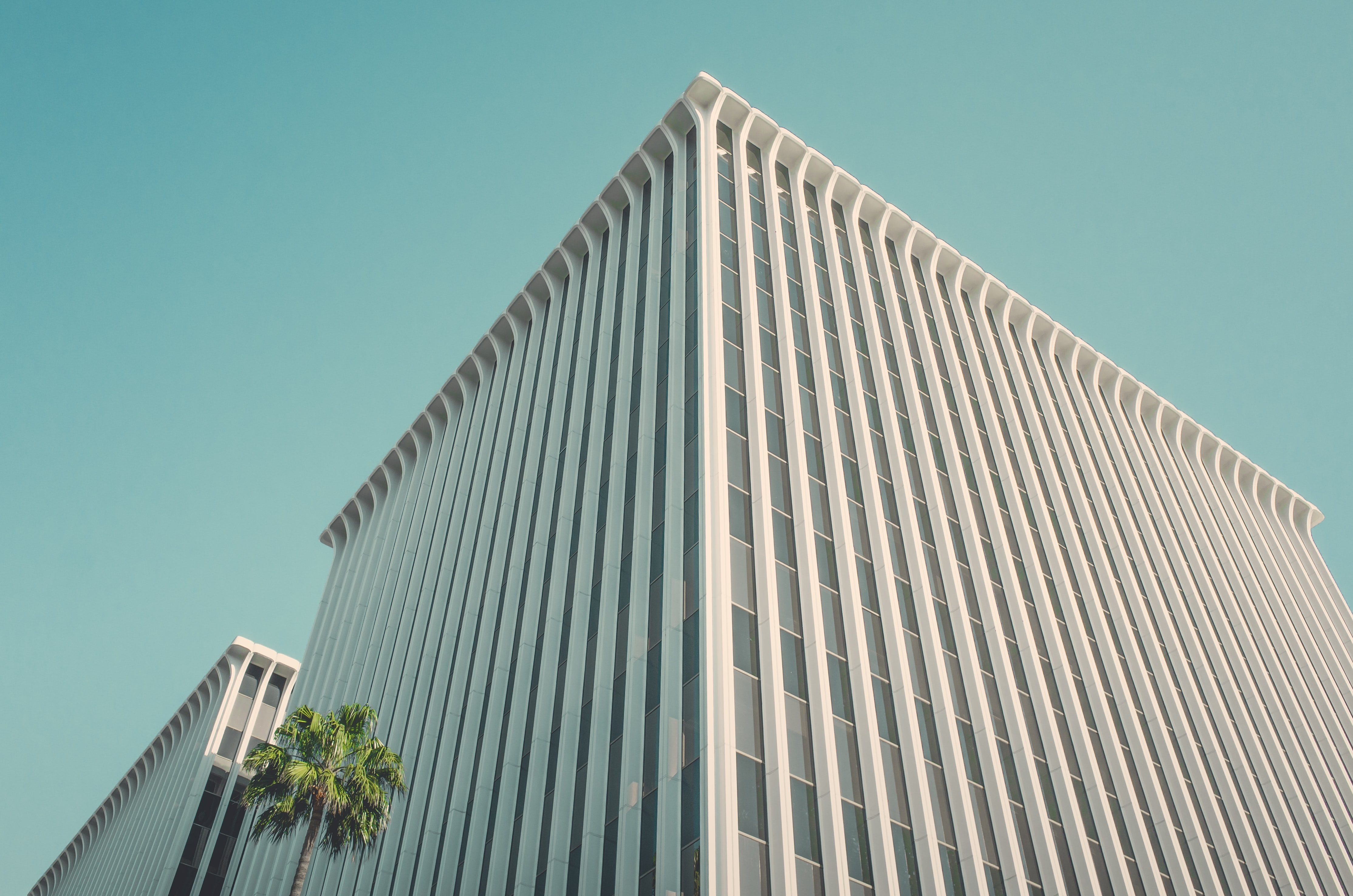 The corner of a white office building in Beverly Hills