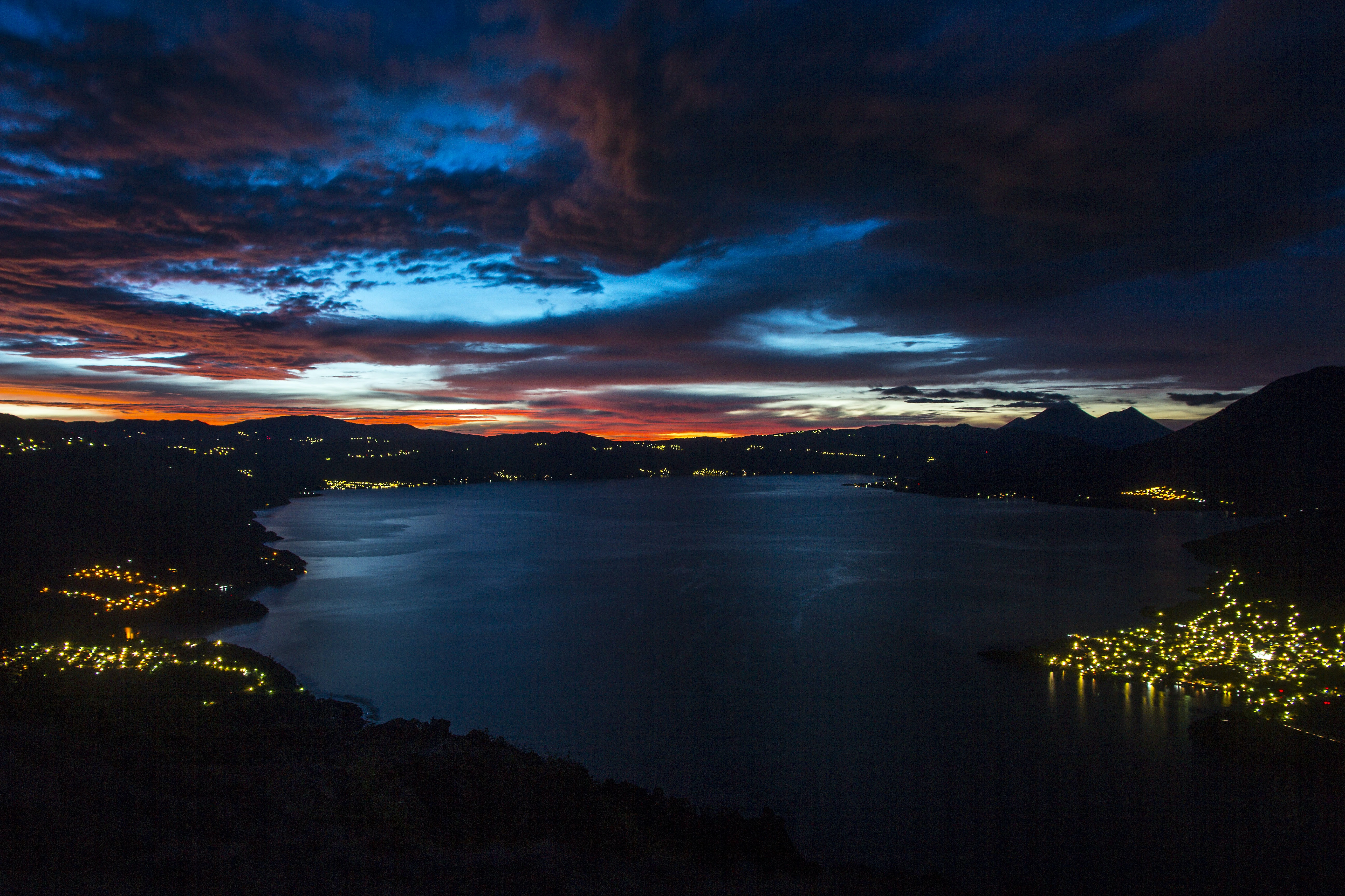 Night scene with illuminated sky over Lake Atitlán in San Pedro La Laguna