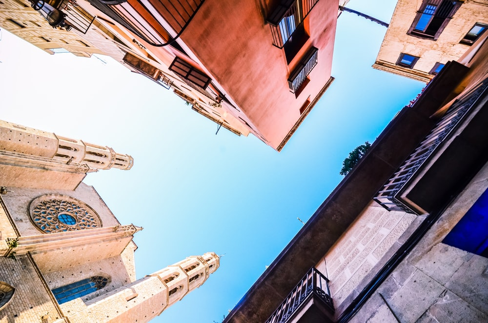 worms eye view of buildings