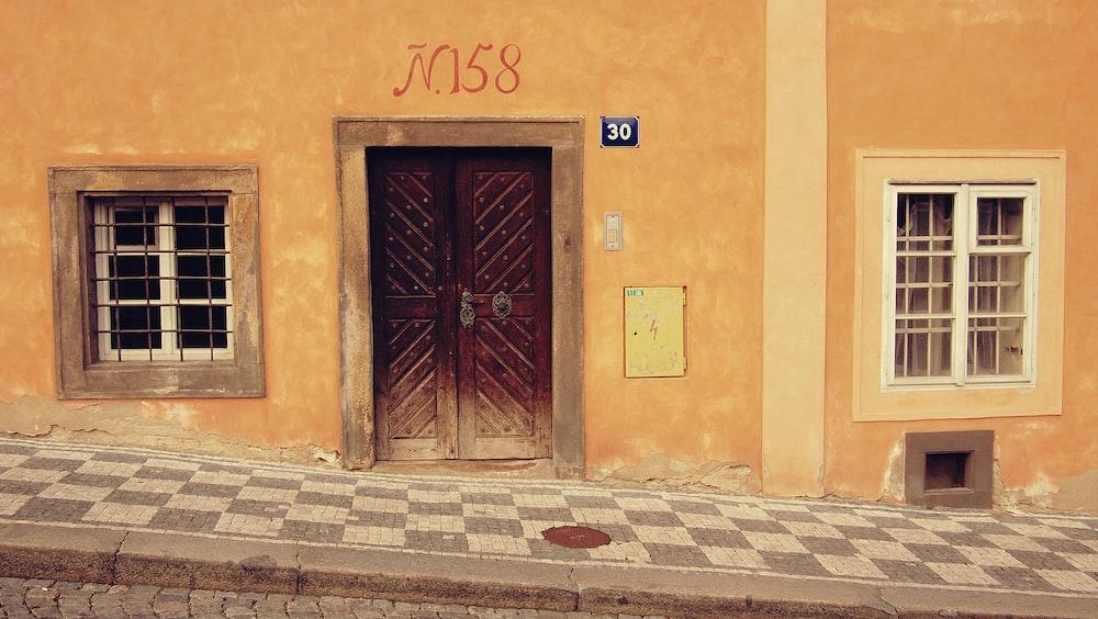 closed door near window