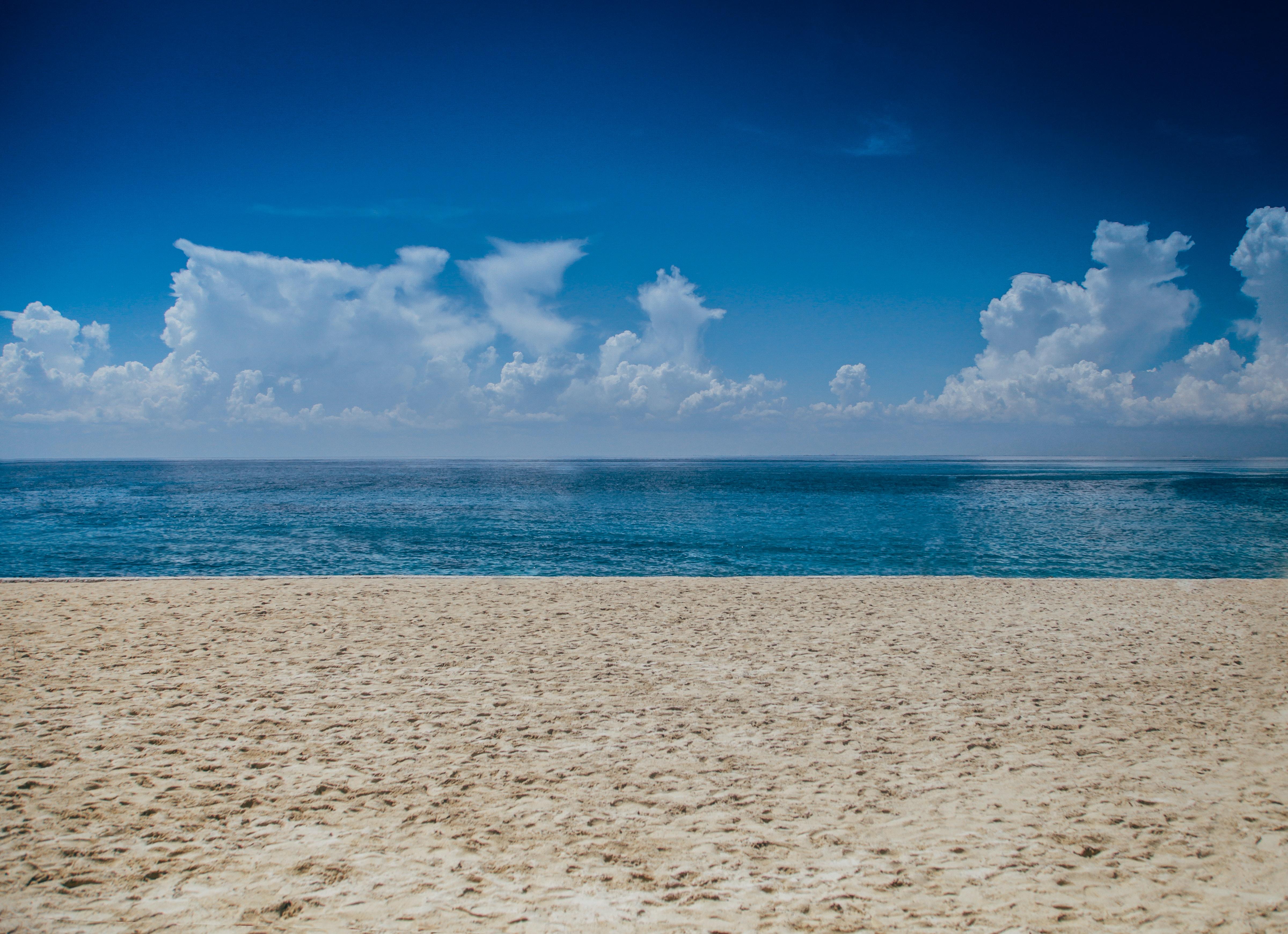 A sandy seashore along a bright blue ocean in Cozumel
