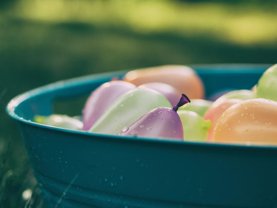 Water balloons in bucket