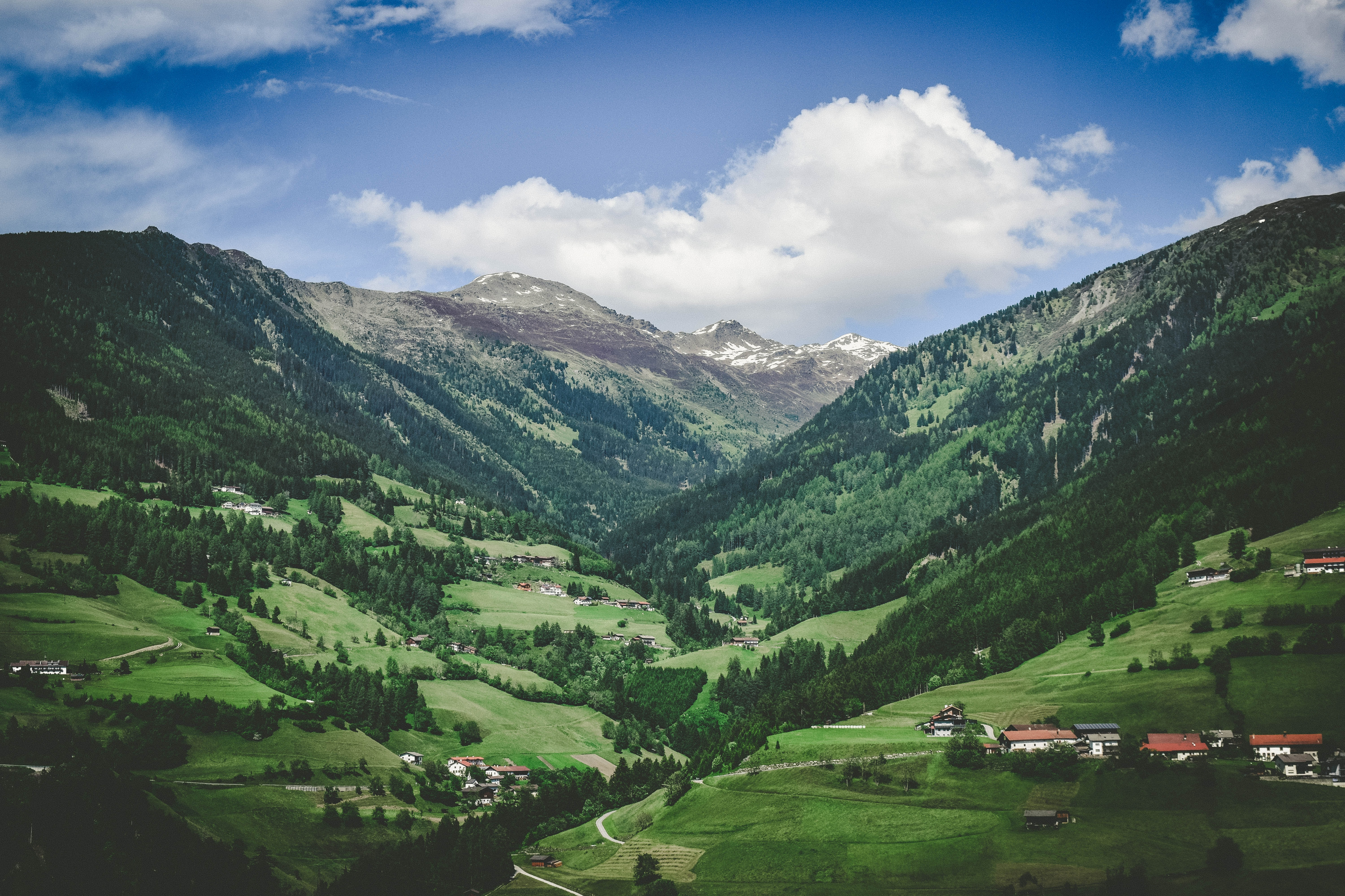 Sparse buildings in a green mountain valley in Austria