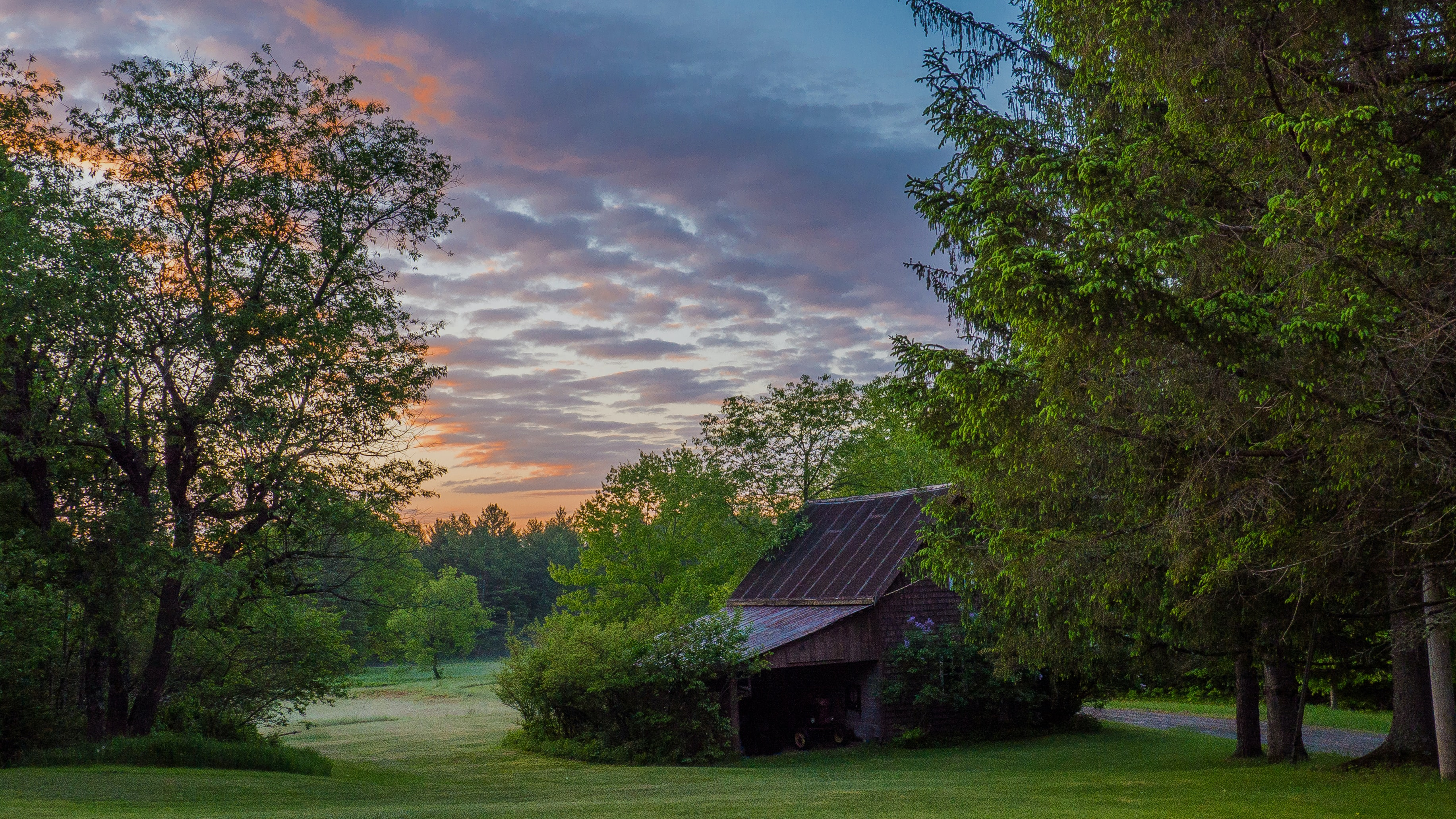 red house surrounded by trees during dawn