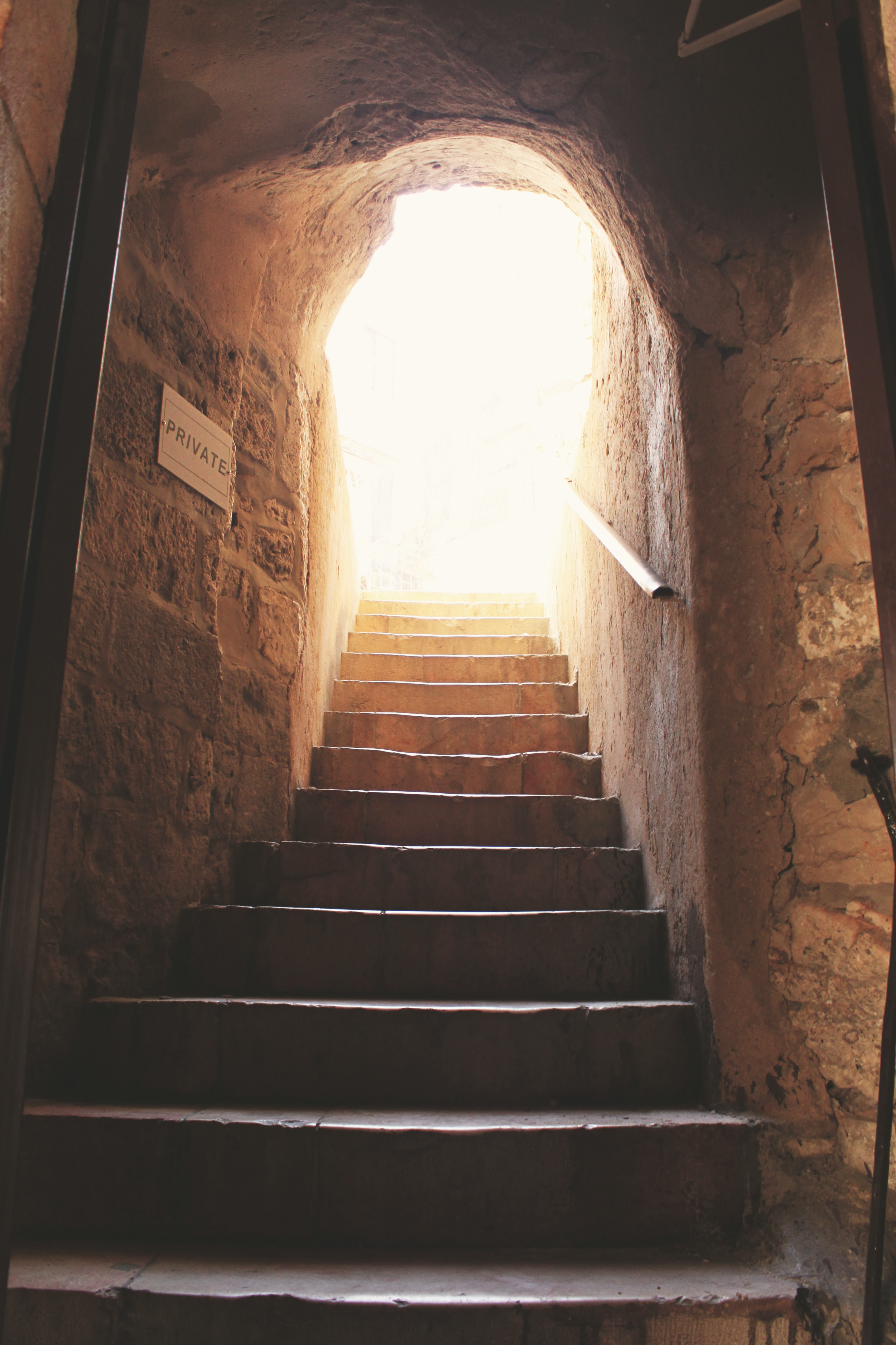 A staircase leading outside.