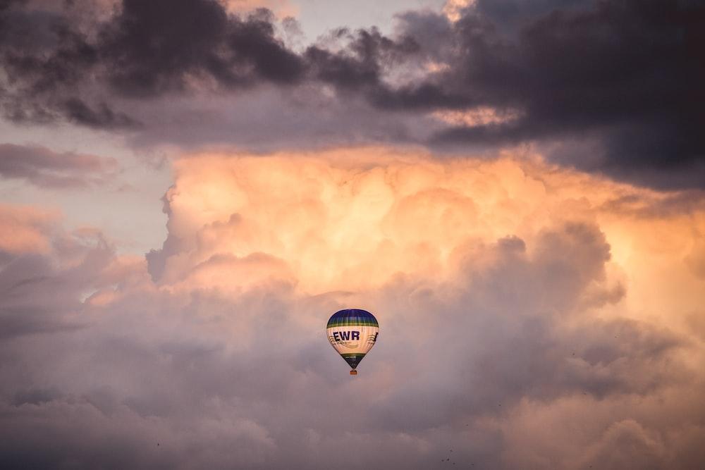 hot air balloon under the clouds
