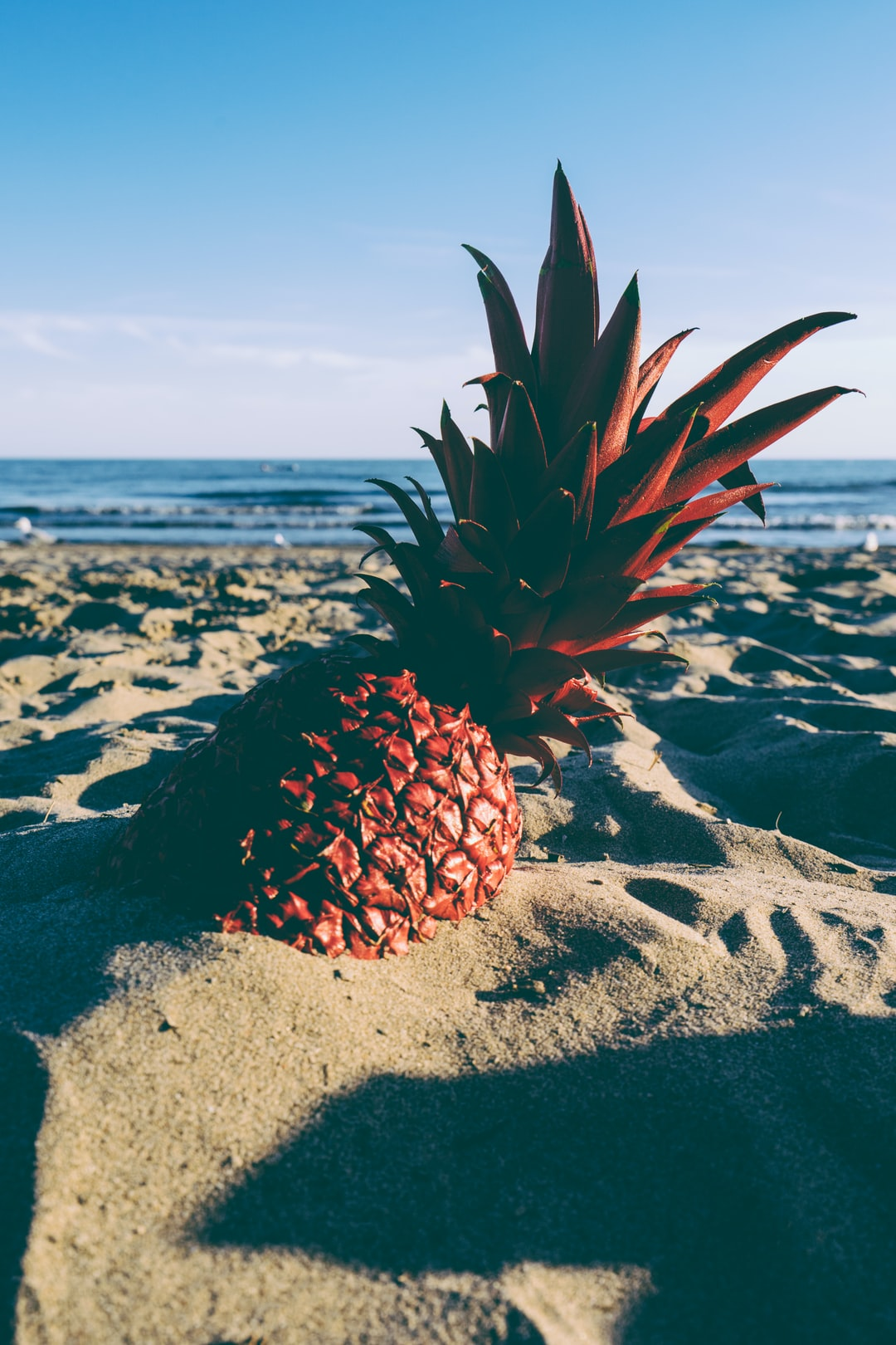 red pineapple in the sand in high-resolution