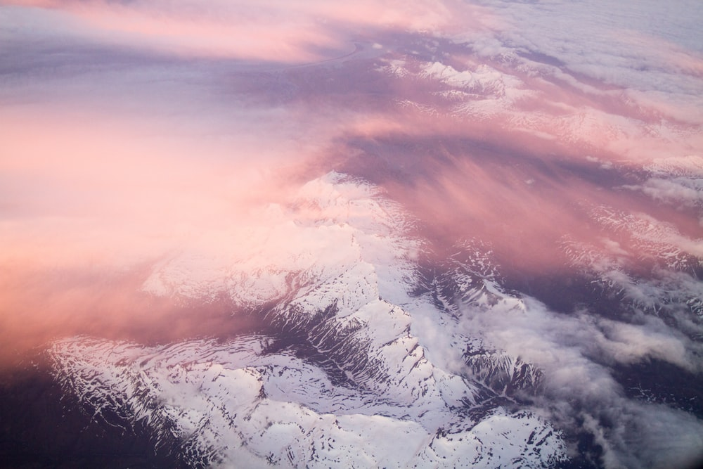 snow capped mountain aerial photography