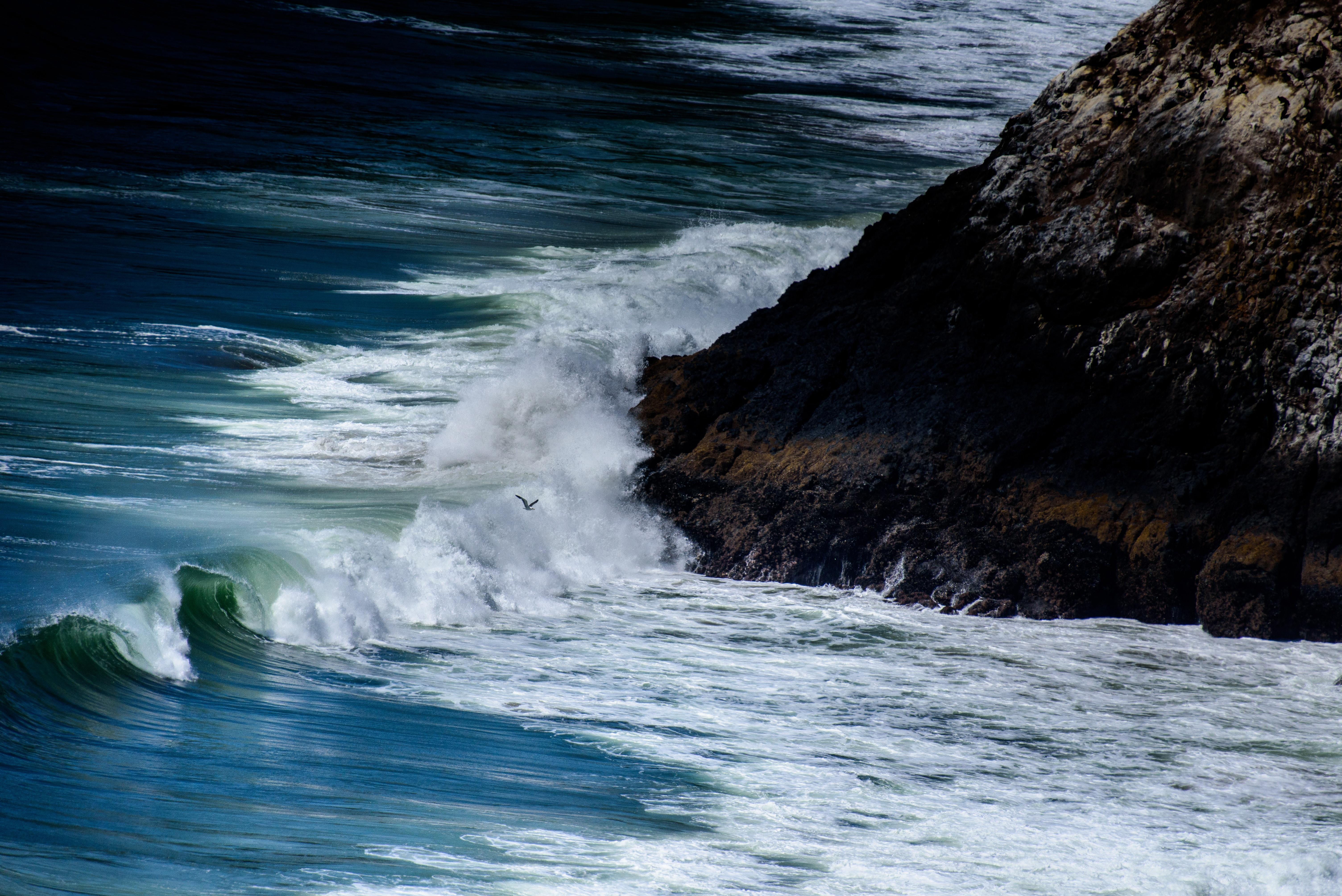 Waves crashing on the rocky coastline at Heceta Beach