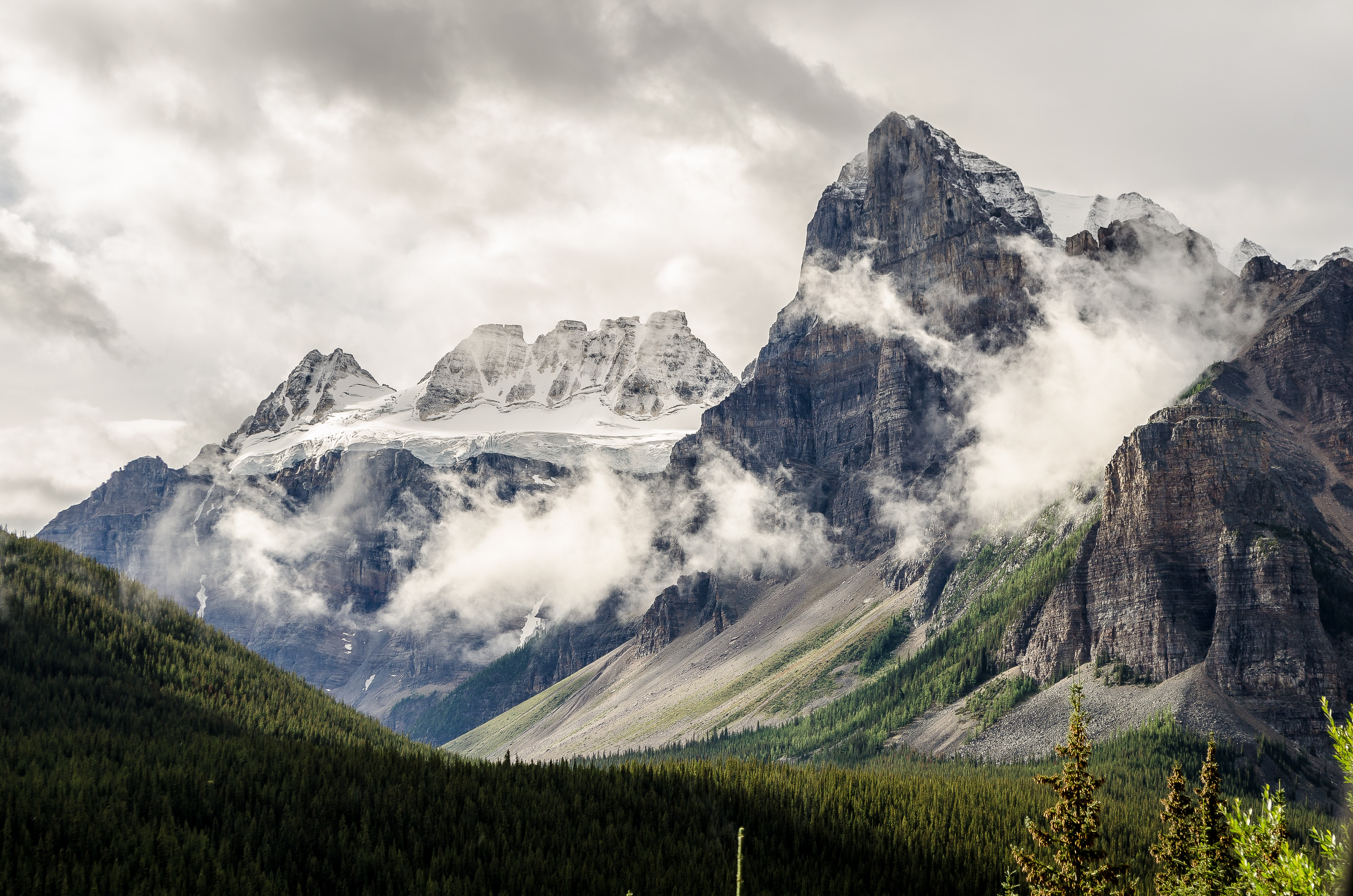 Clouds over a mountain valley in Alberta