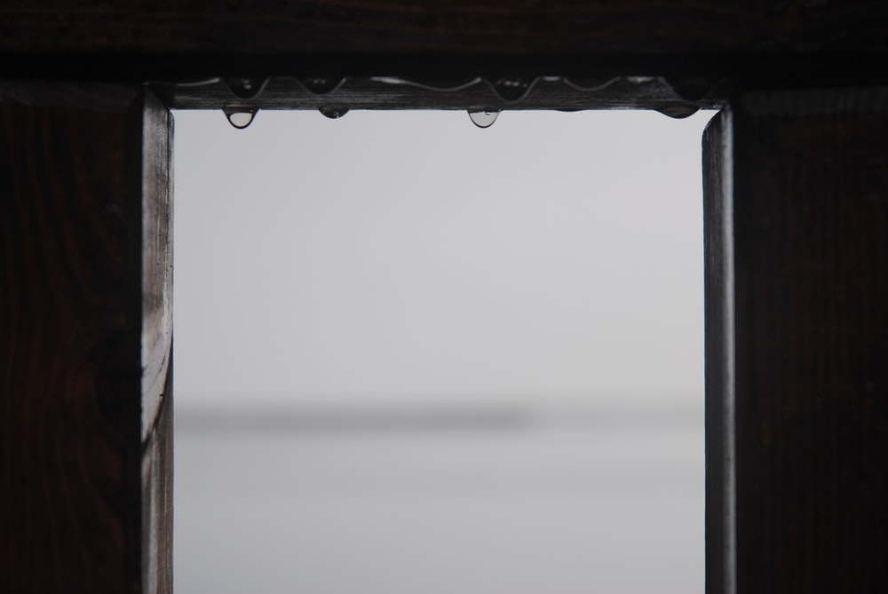 window with water droplets