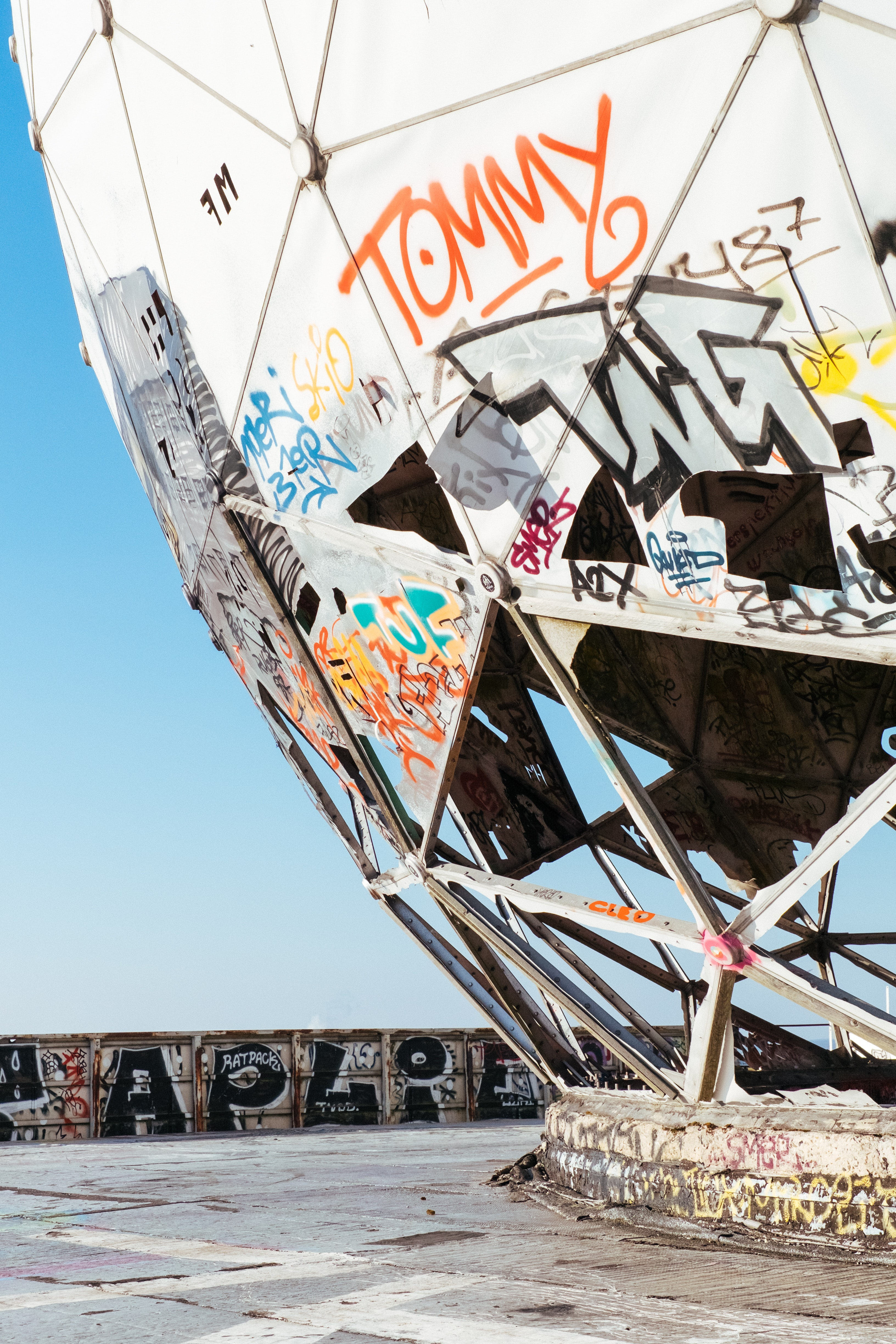 Large geodesic dome covered in graffiti in Teufelsberg