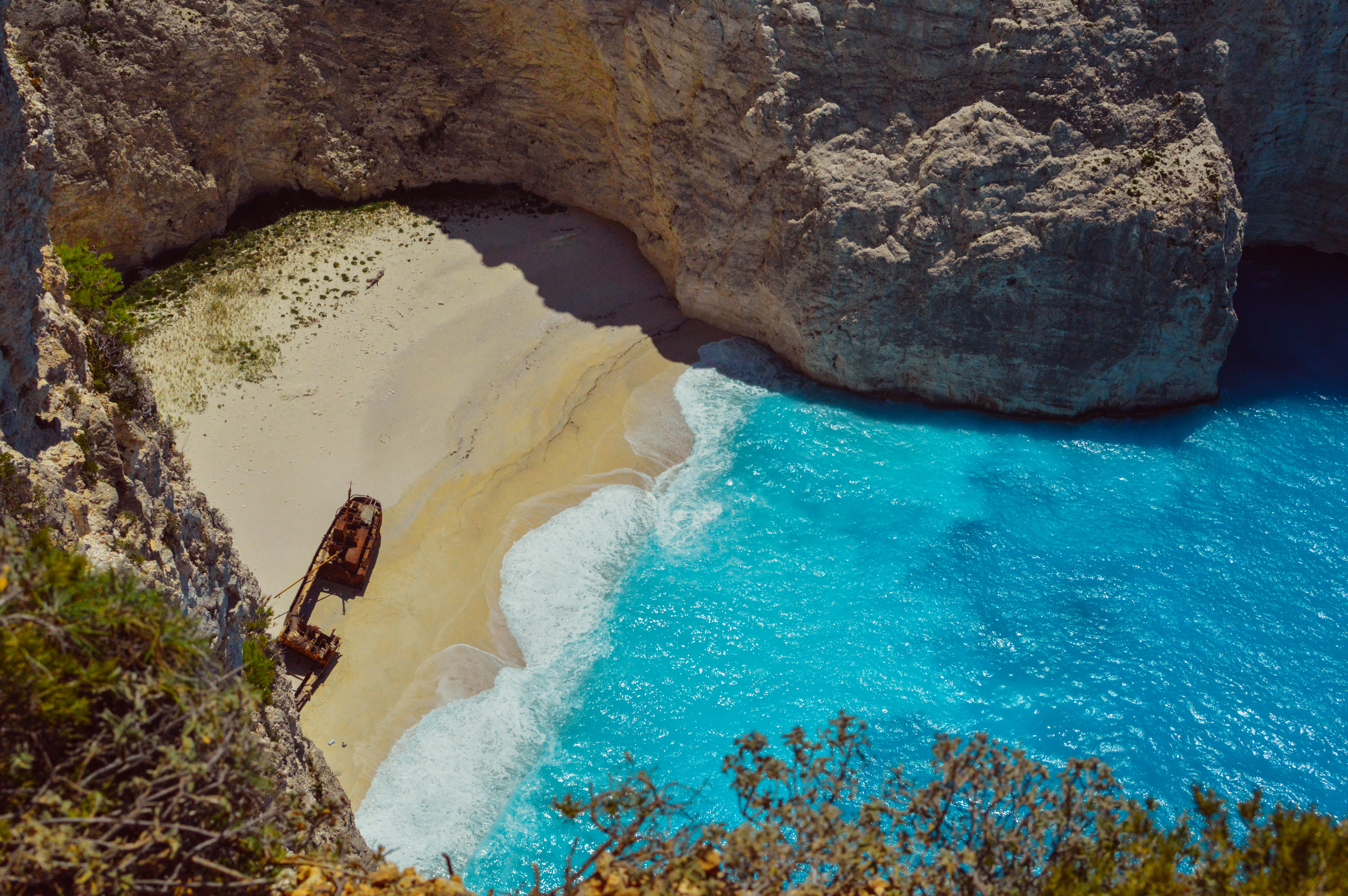 View of Shipwreck Beach on Zakynthos from a cliff