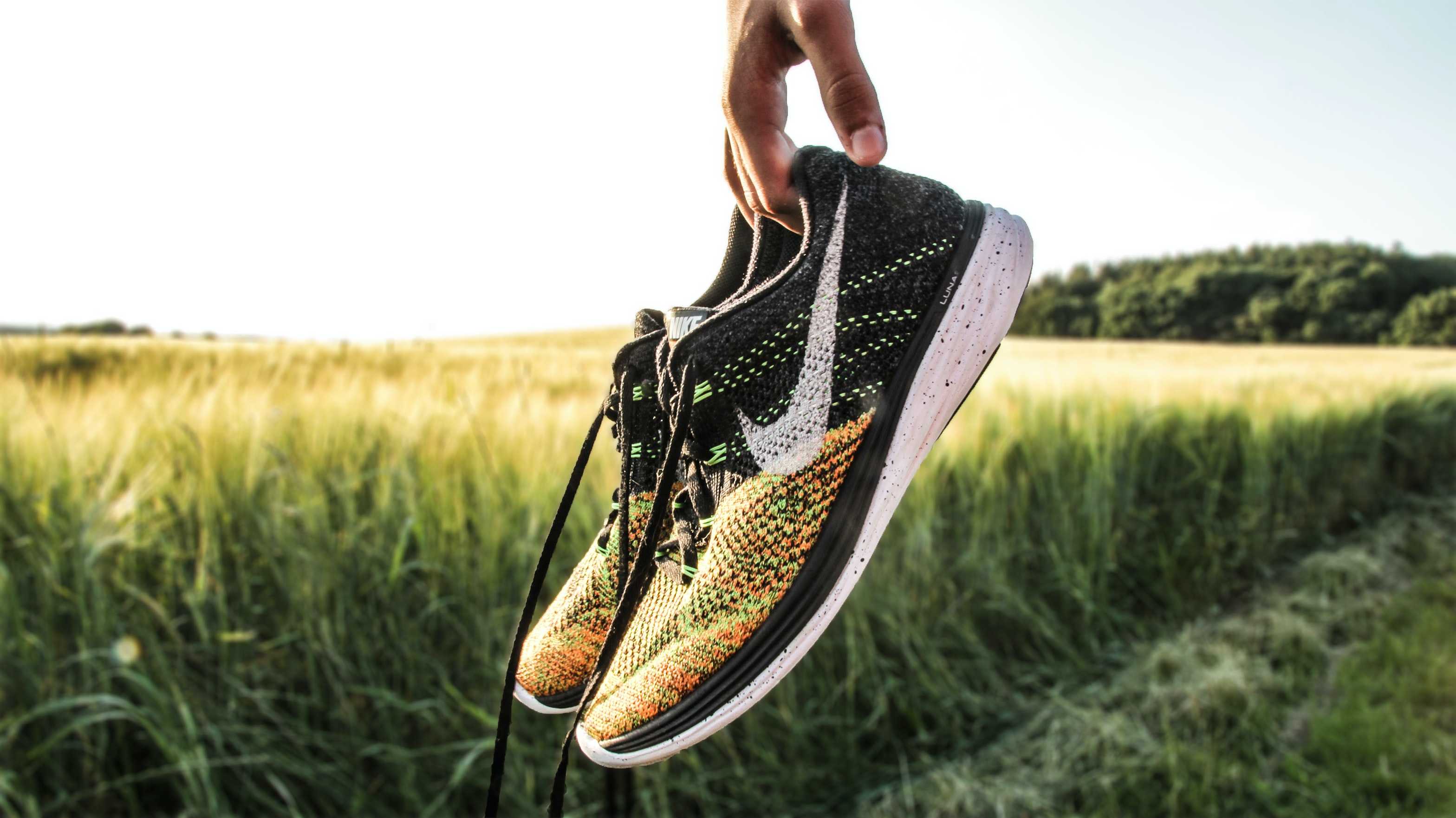 A person holding a pair of Nike trainer shoes in a field