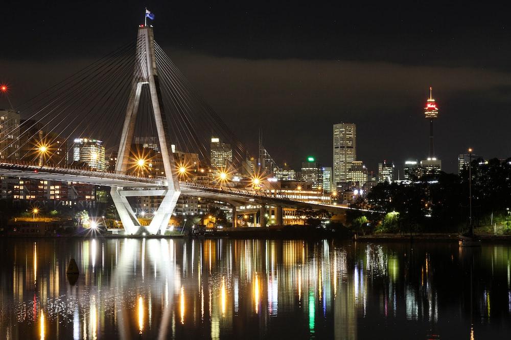 photography of city bridge during night
