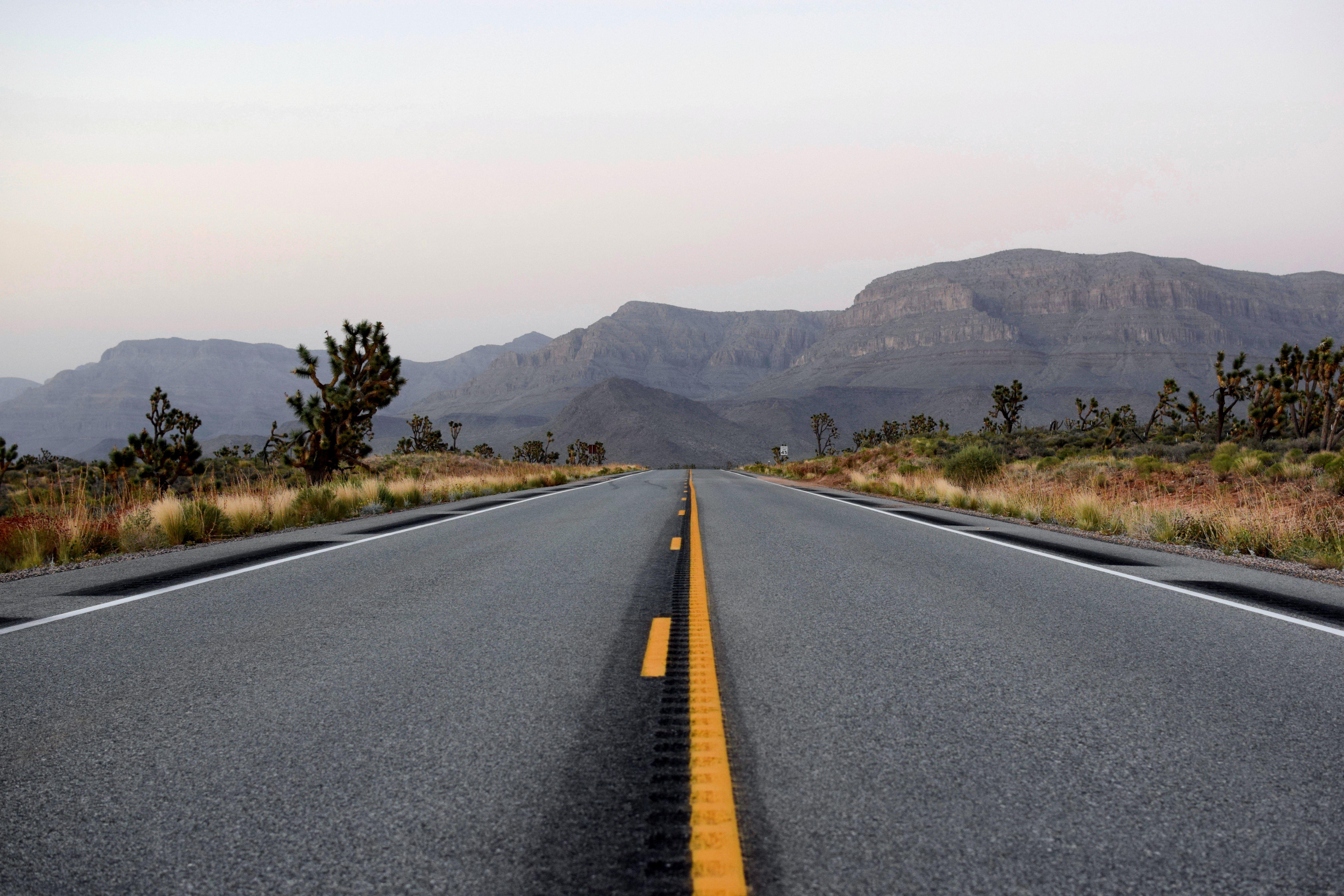 Open highway road in the desert of Arizona