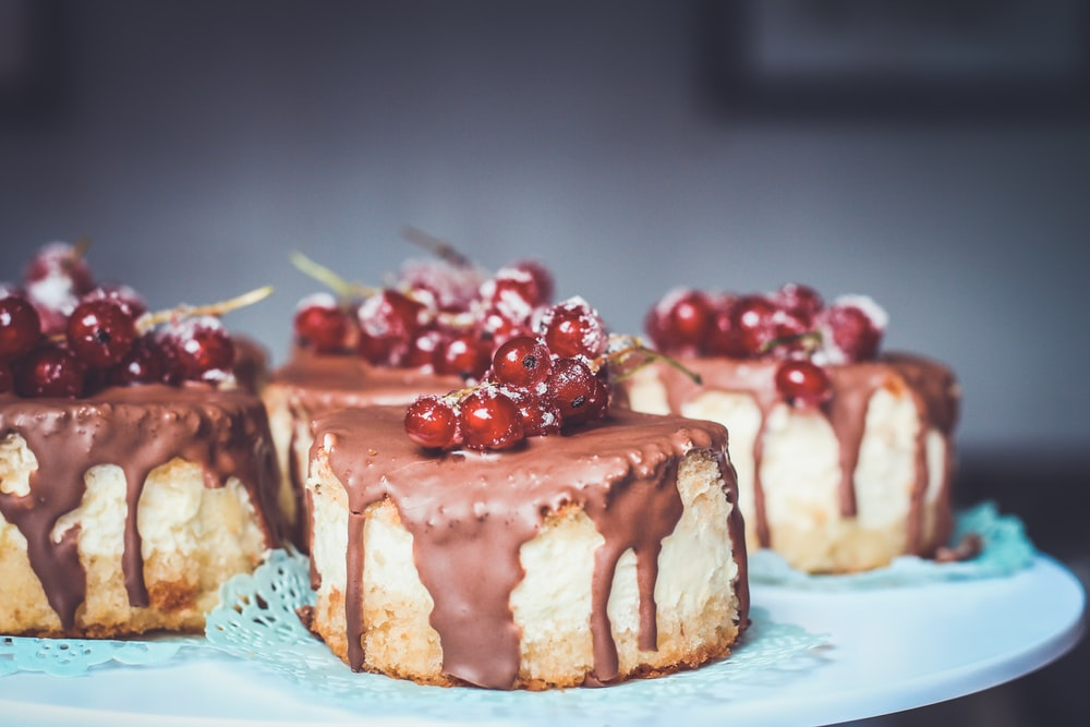 chocolate cake topped with cherries