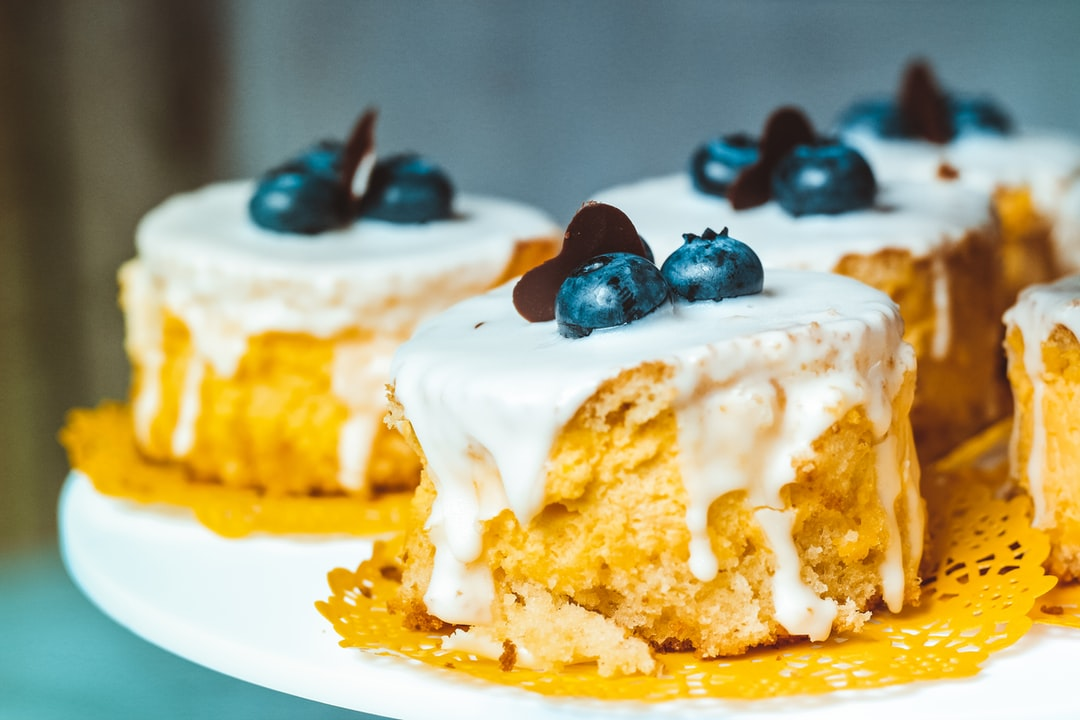 Blueberry scones with frosting
