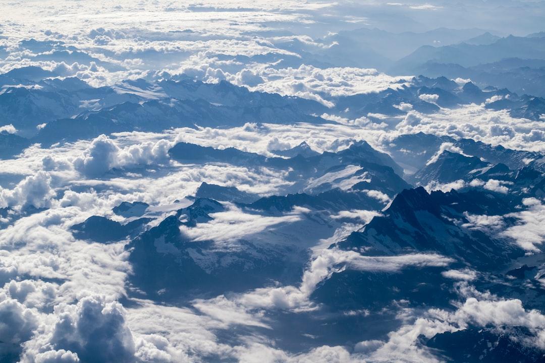 Bird's-eye view of tall mountains