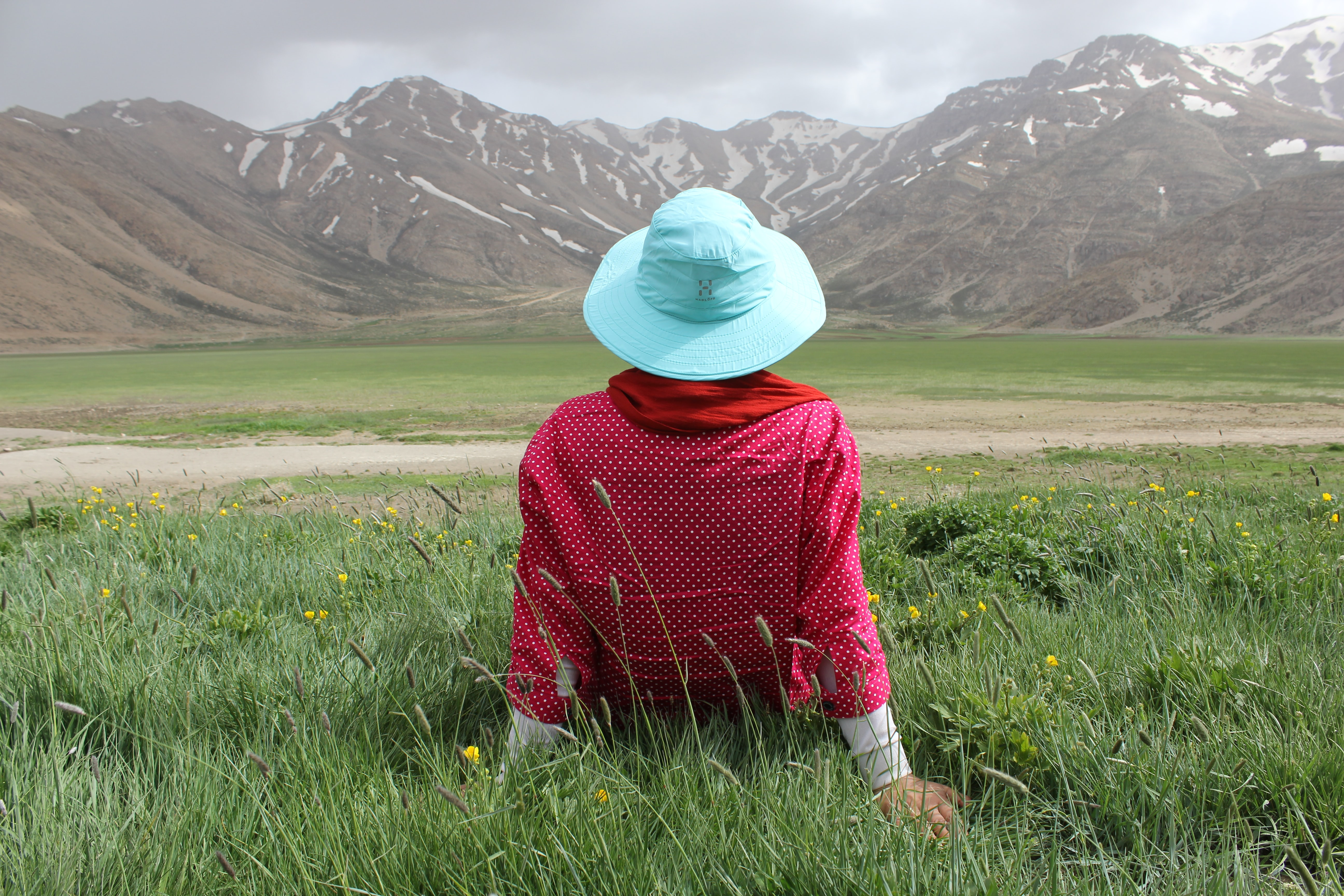 Person in a red shirt and blue hat relaxing in grass near mountains