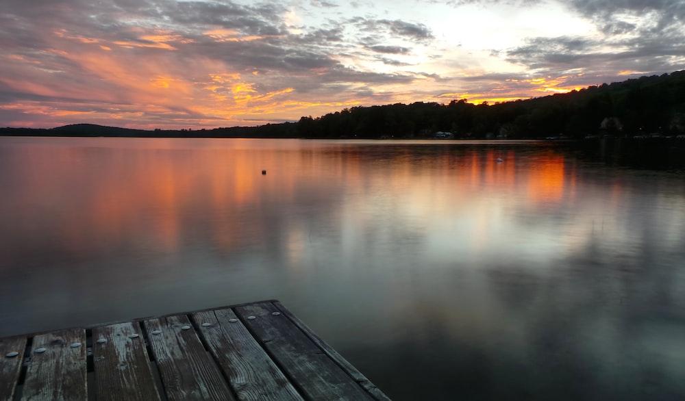 wooden dock near tree during golden hour