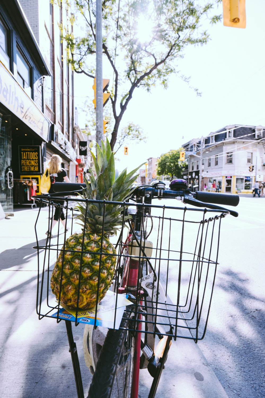 pineapple on black basket