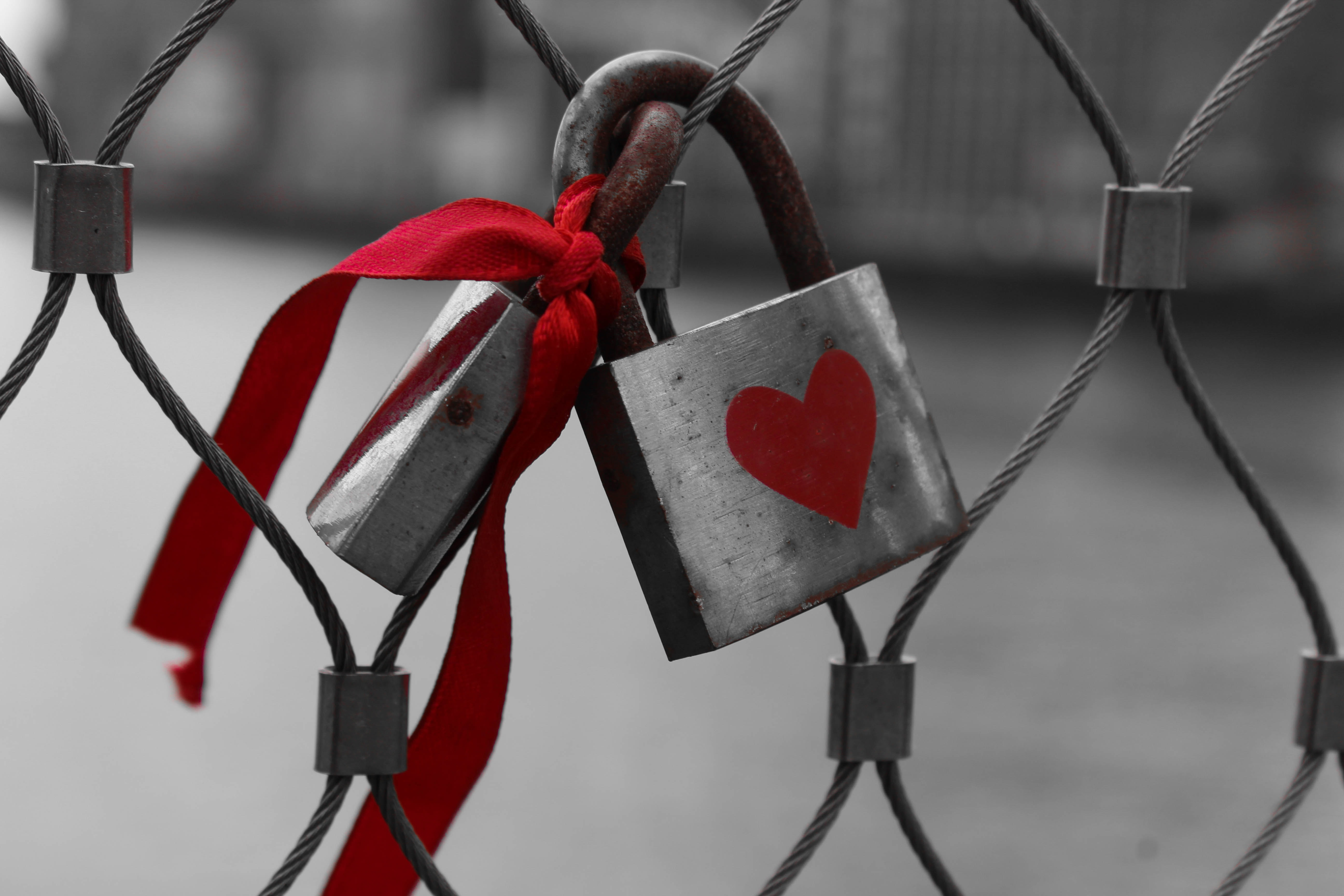 Padlock on a wire fence has red heart painted on it and ribbon attached