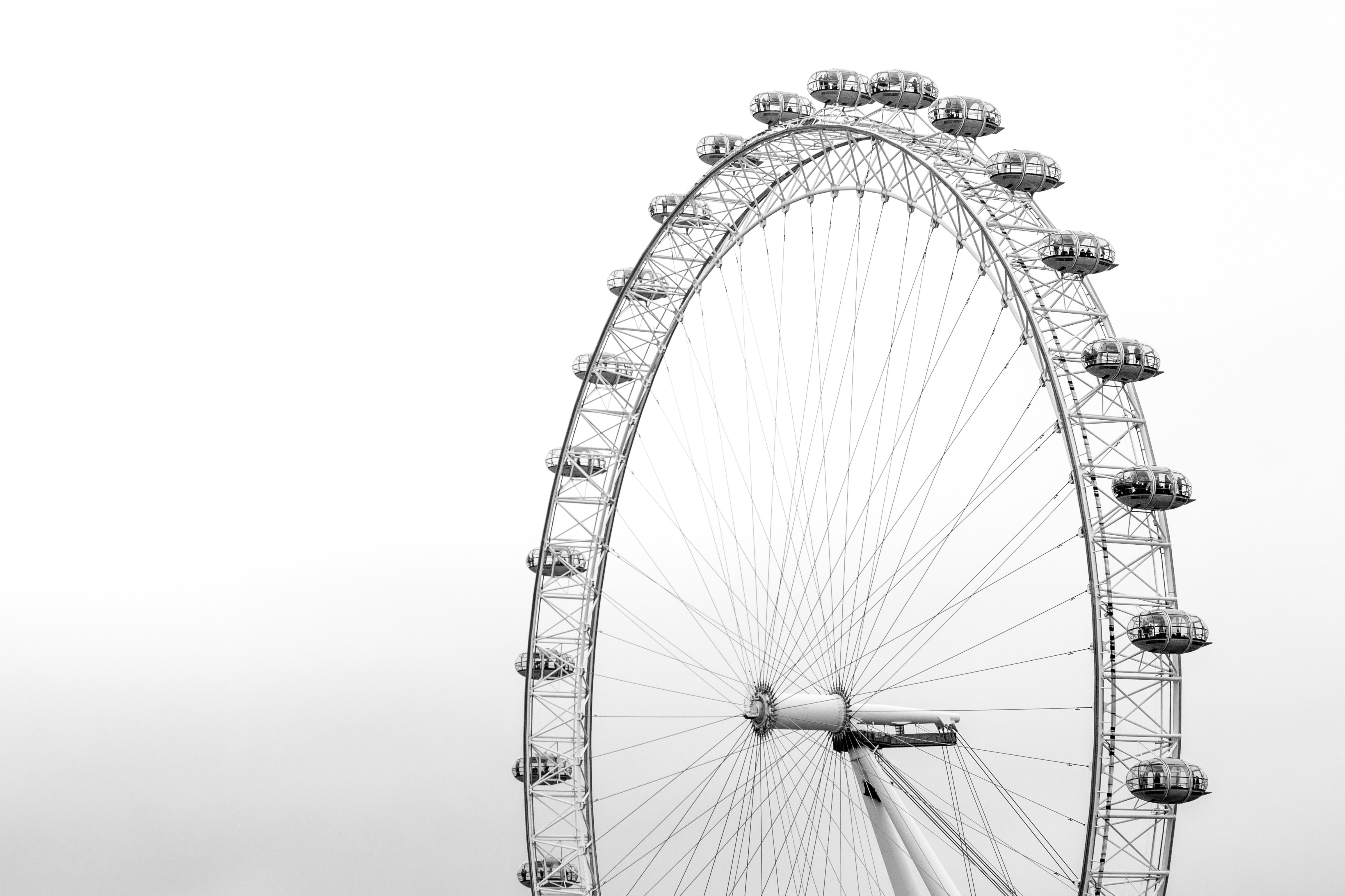 A black-and-white shot of the London Eye