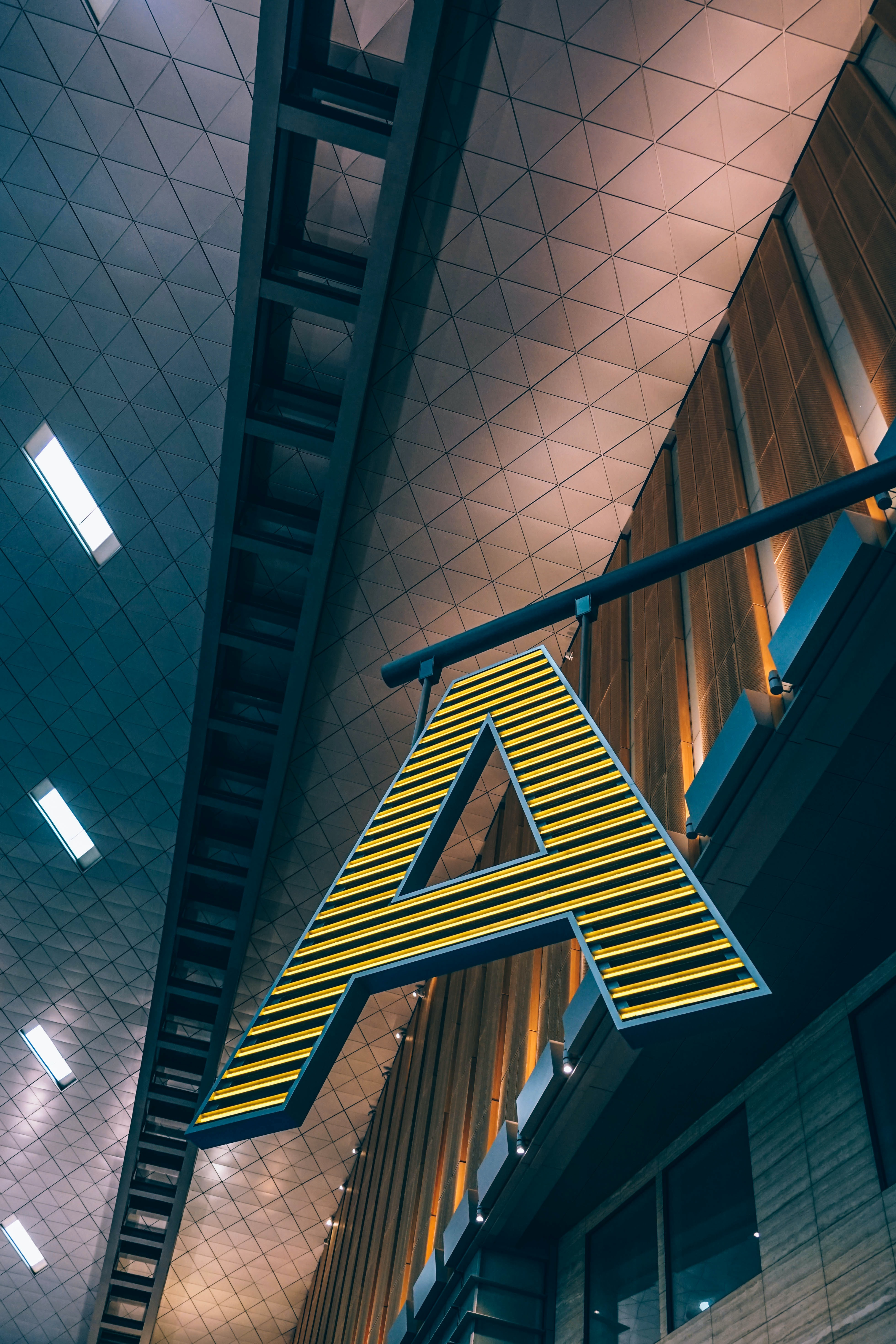 architectural photography letter A signage