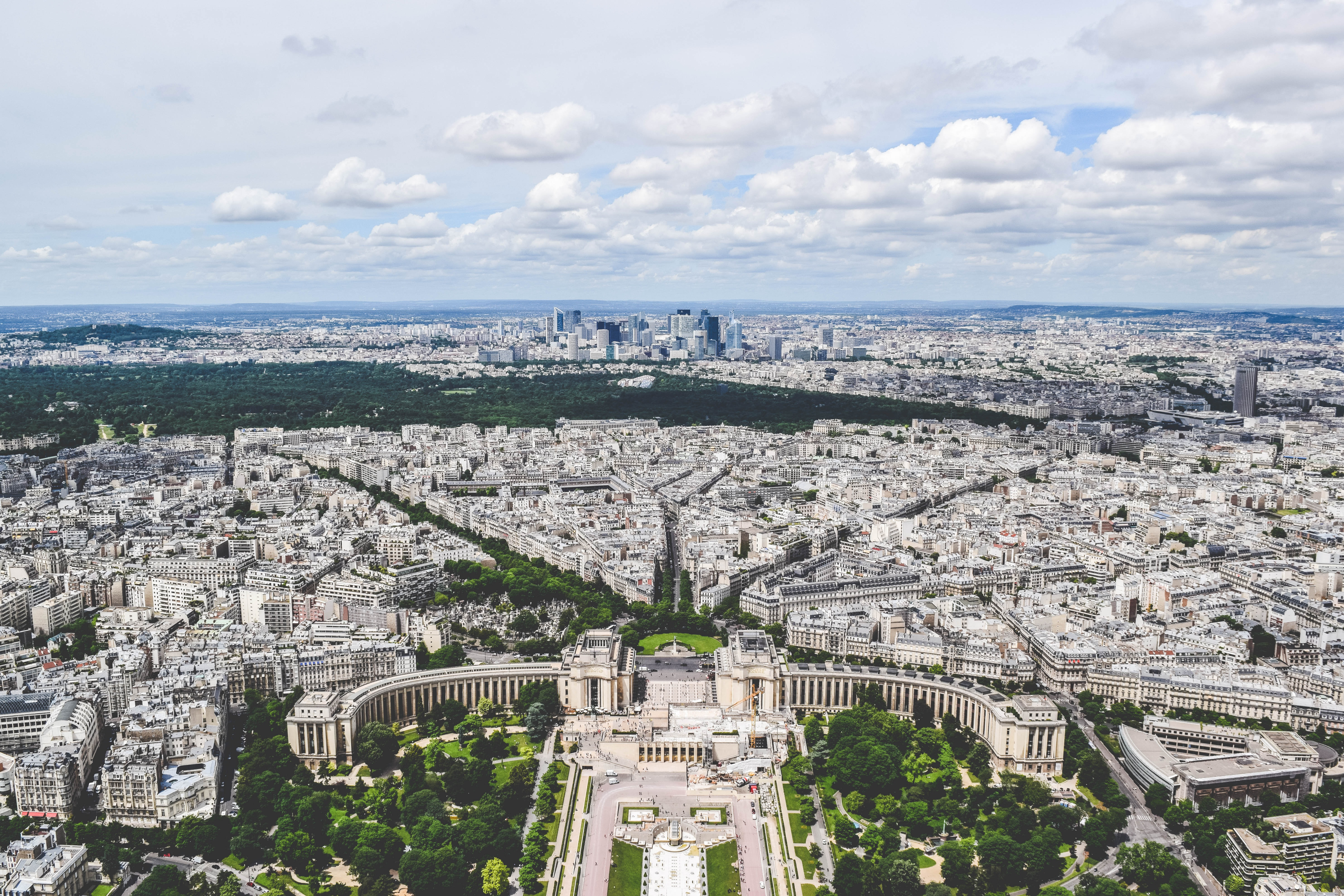 An aerial view of Place du Trocadéro in Paris taken from the Eiffel Tower