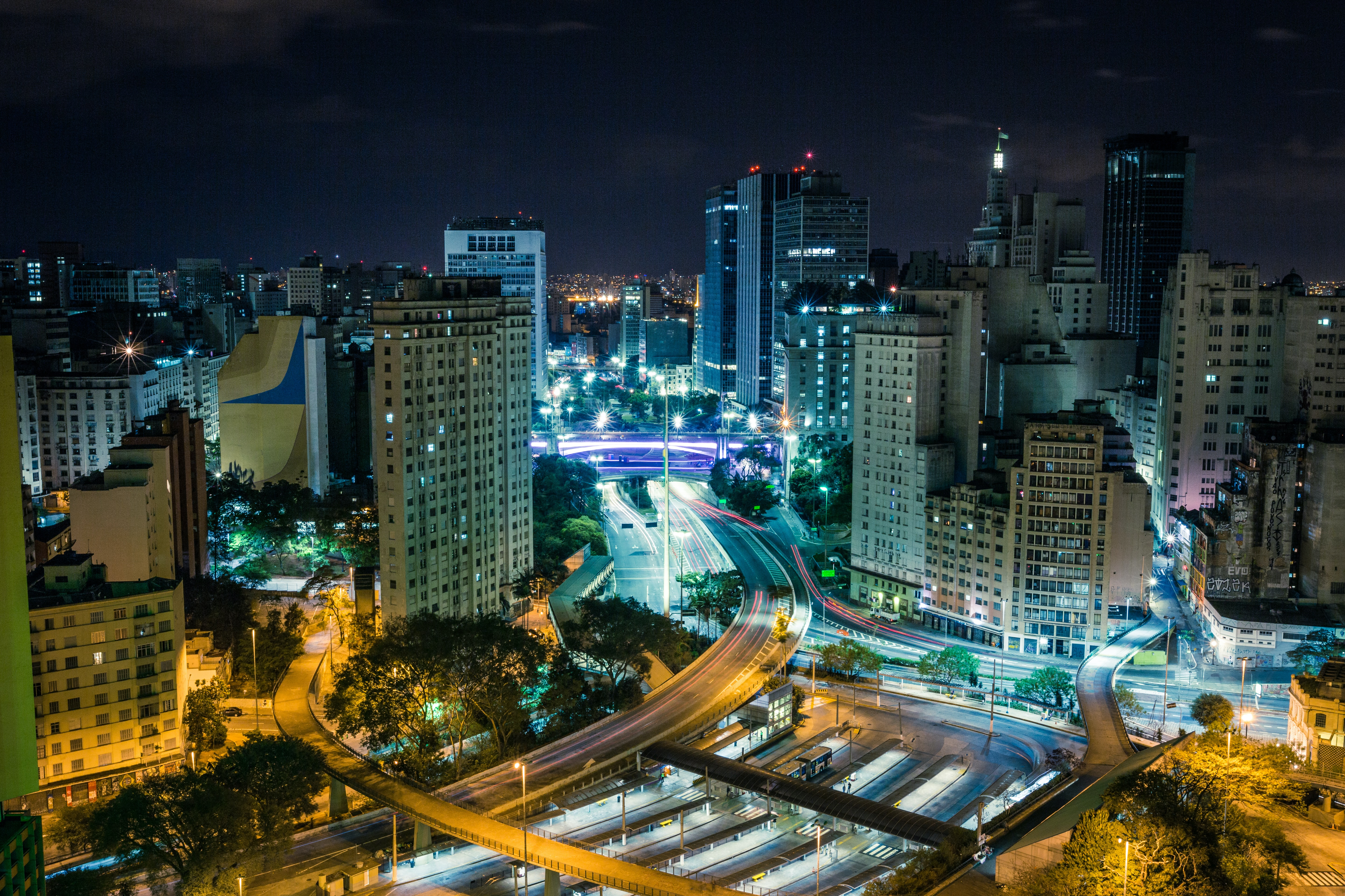 time lapse photography of a city highway