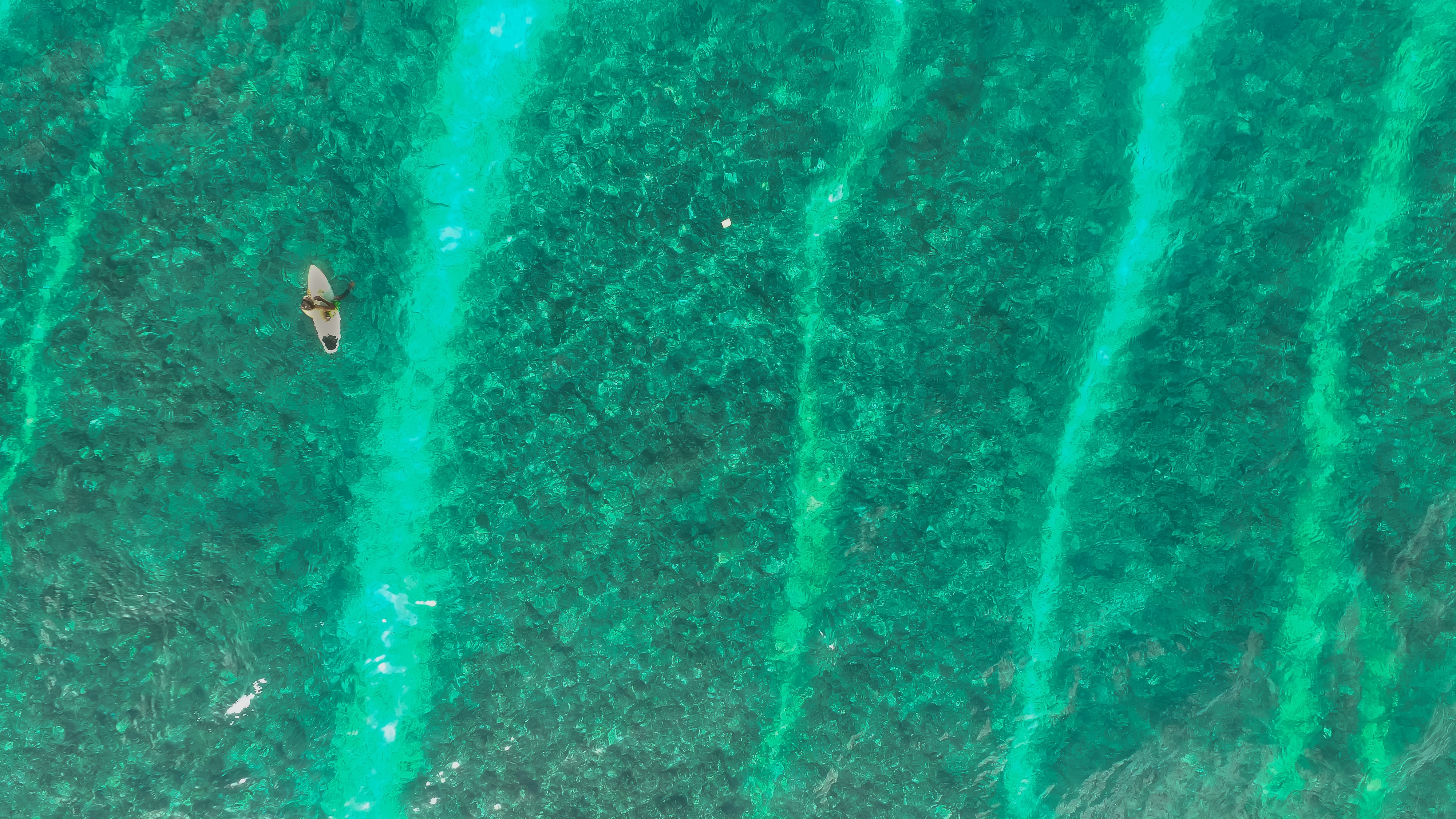 An overhead drone shot of a solitary surfer paddling the calm green waters at Male, Maldives