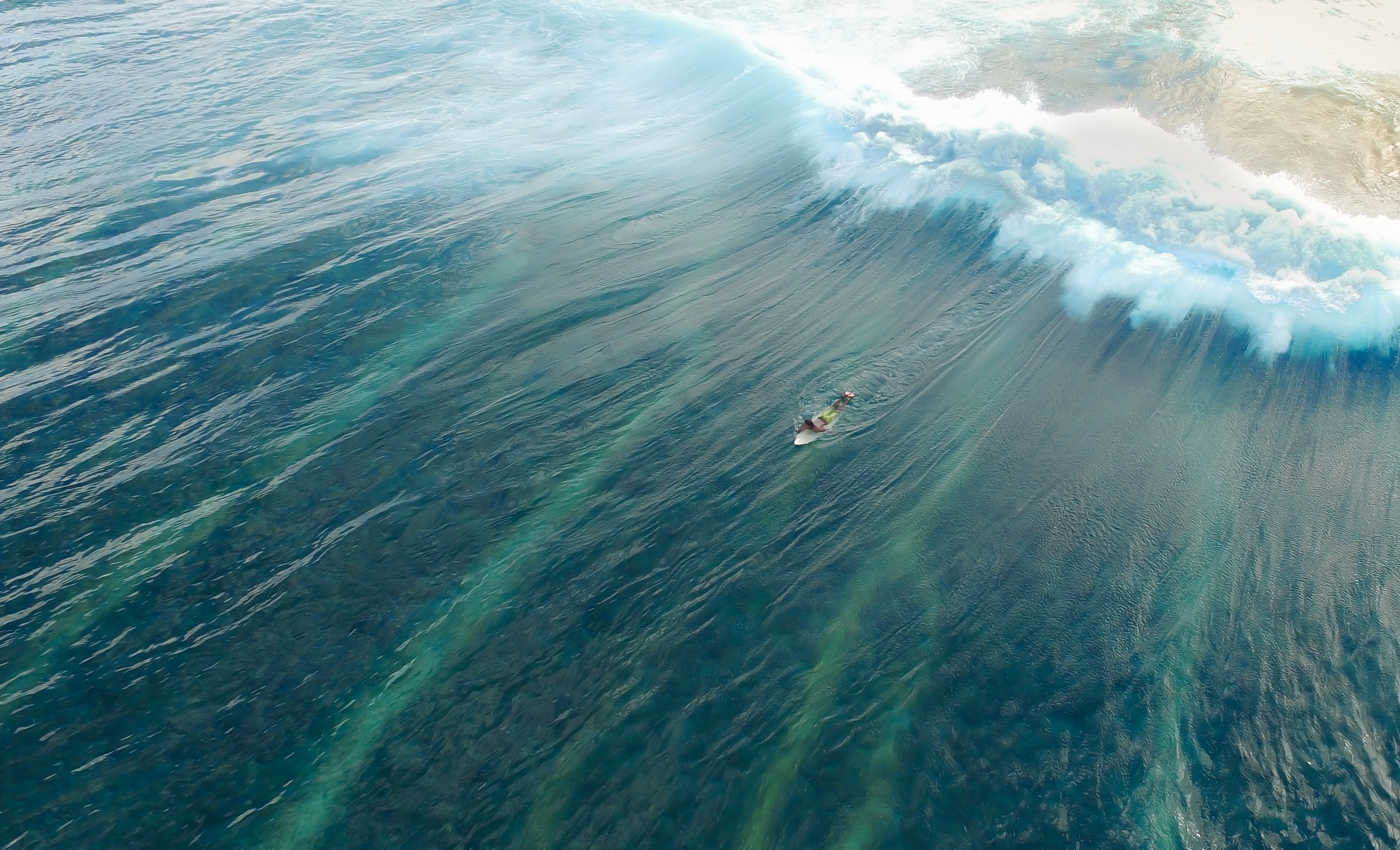 An overhead drone shot of a surfer in the water as the waves break behind him in Male, Maldives