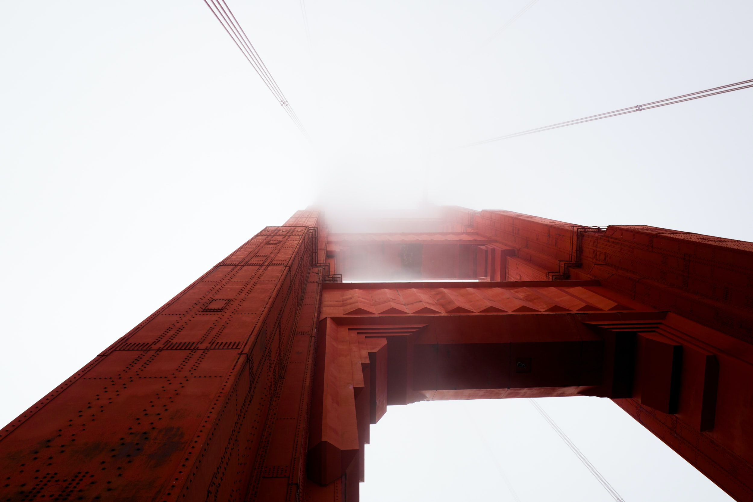 Looking up at the architectural details of Golden Gate Bridge