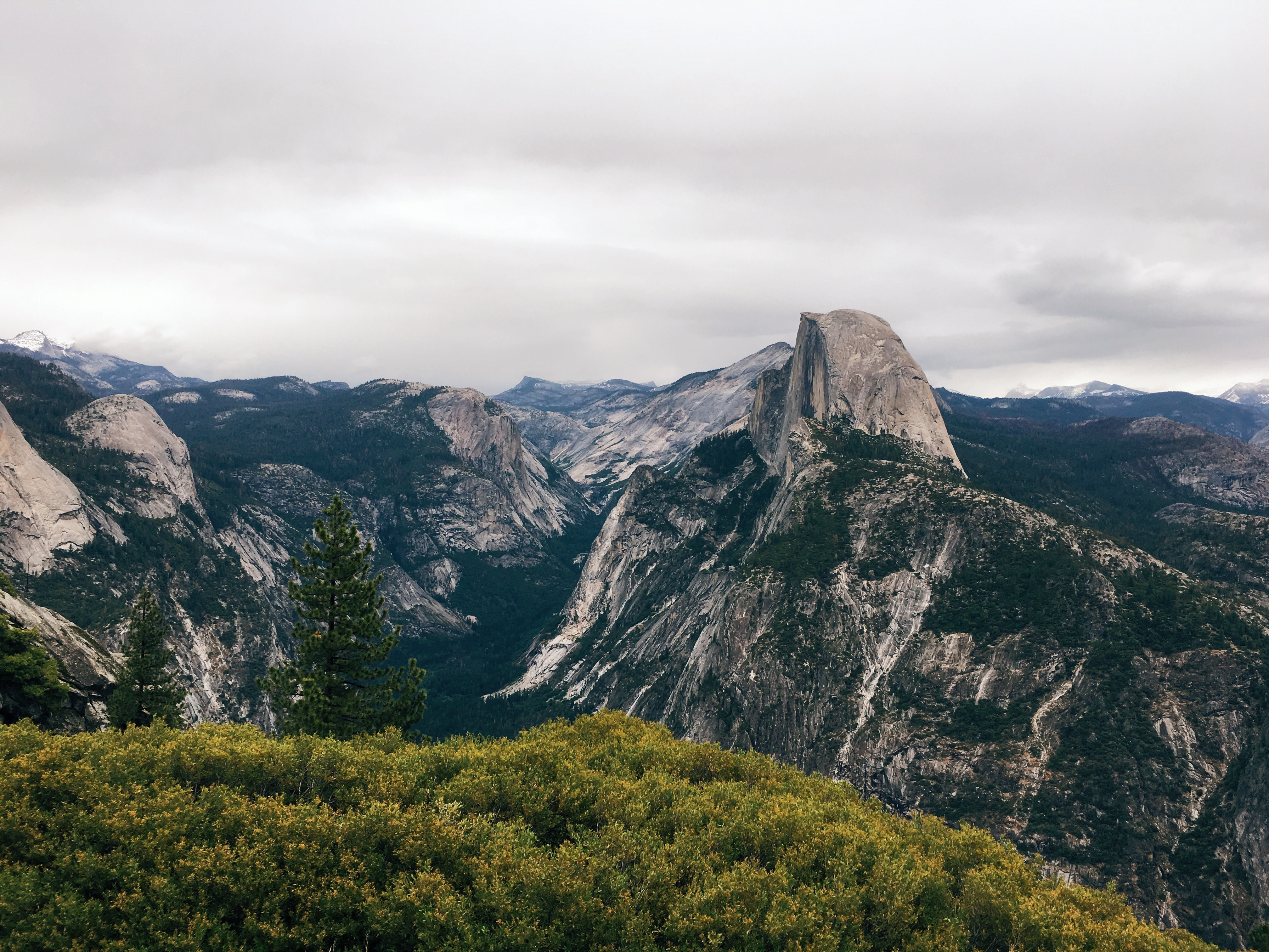 High view of the side of the Half Dome cliff in Yosemite
