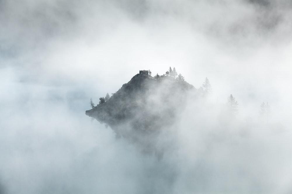 Mountain peak in Emerald Bay peeks through morning mist