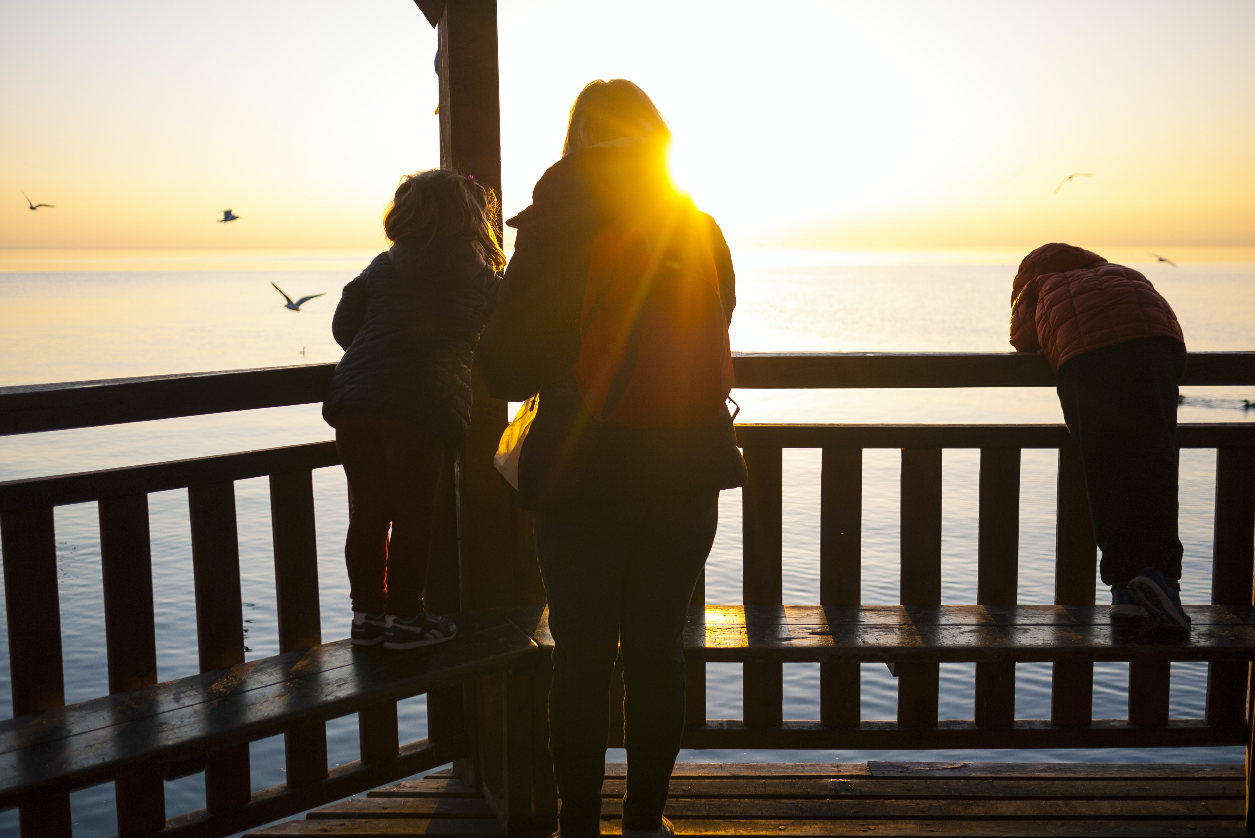 A mother and her two children watch the seagulls and the sunset over the ocean from a pier.