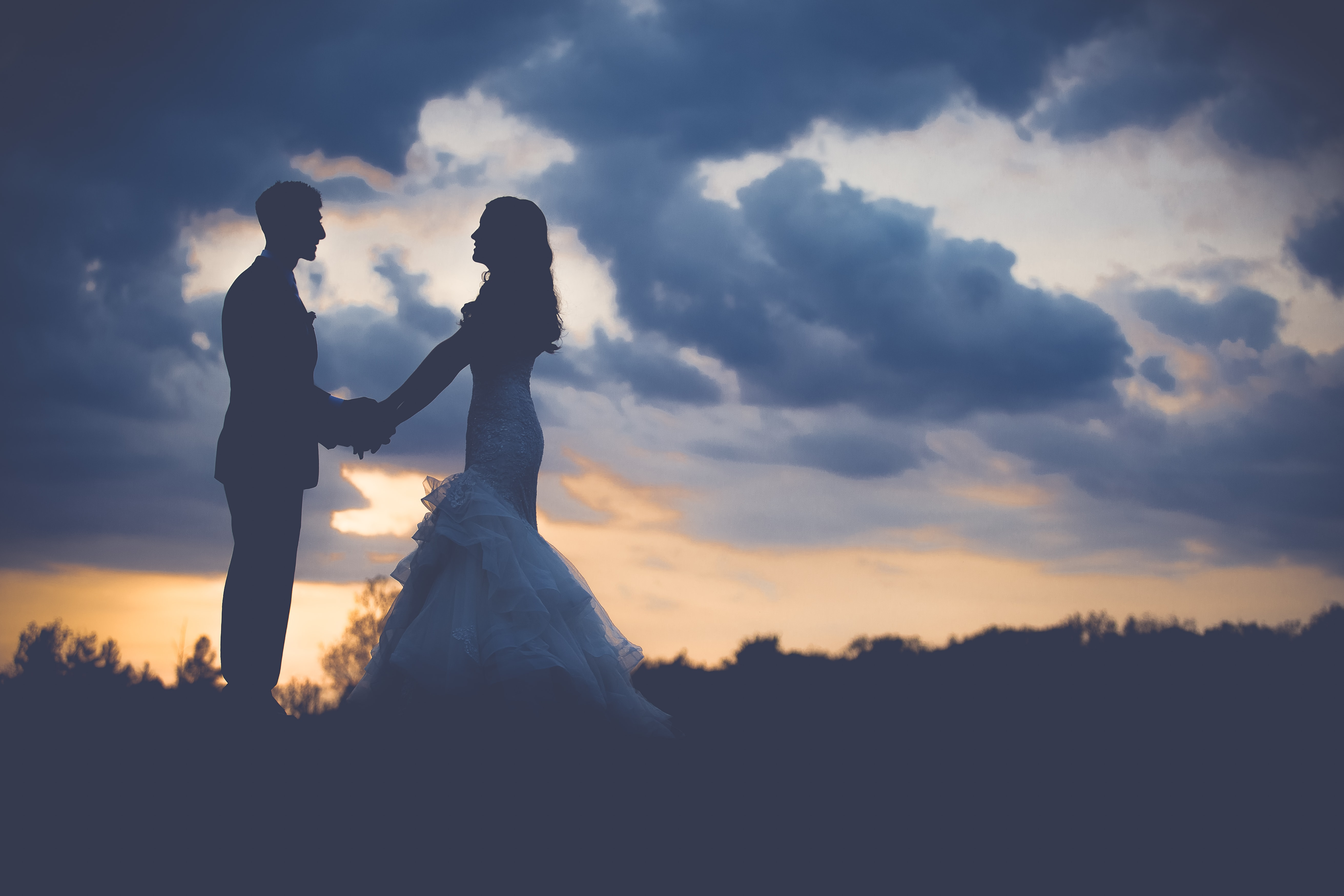 Just-married bride and groom hold hands on a hill at sunset