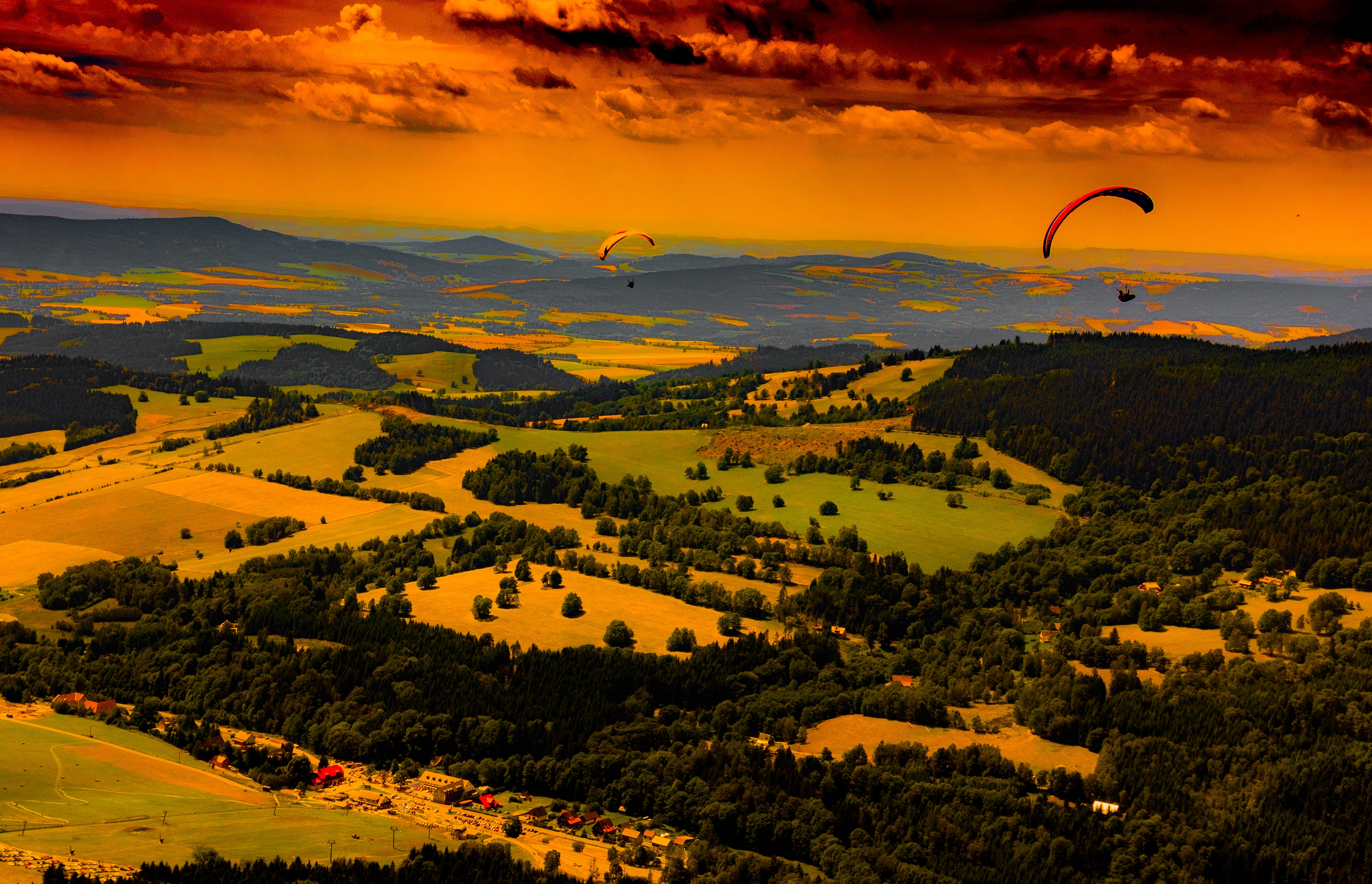 two person paragliding