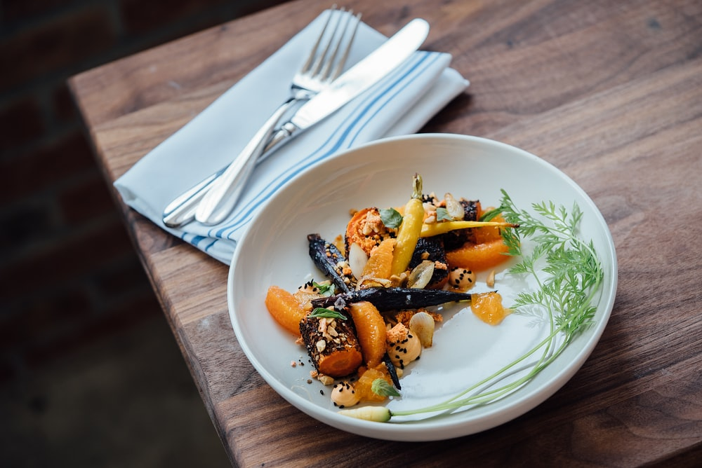 vegetable dish on white plate