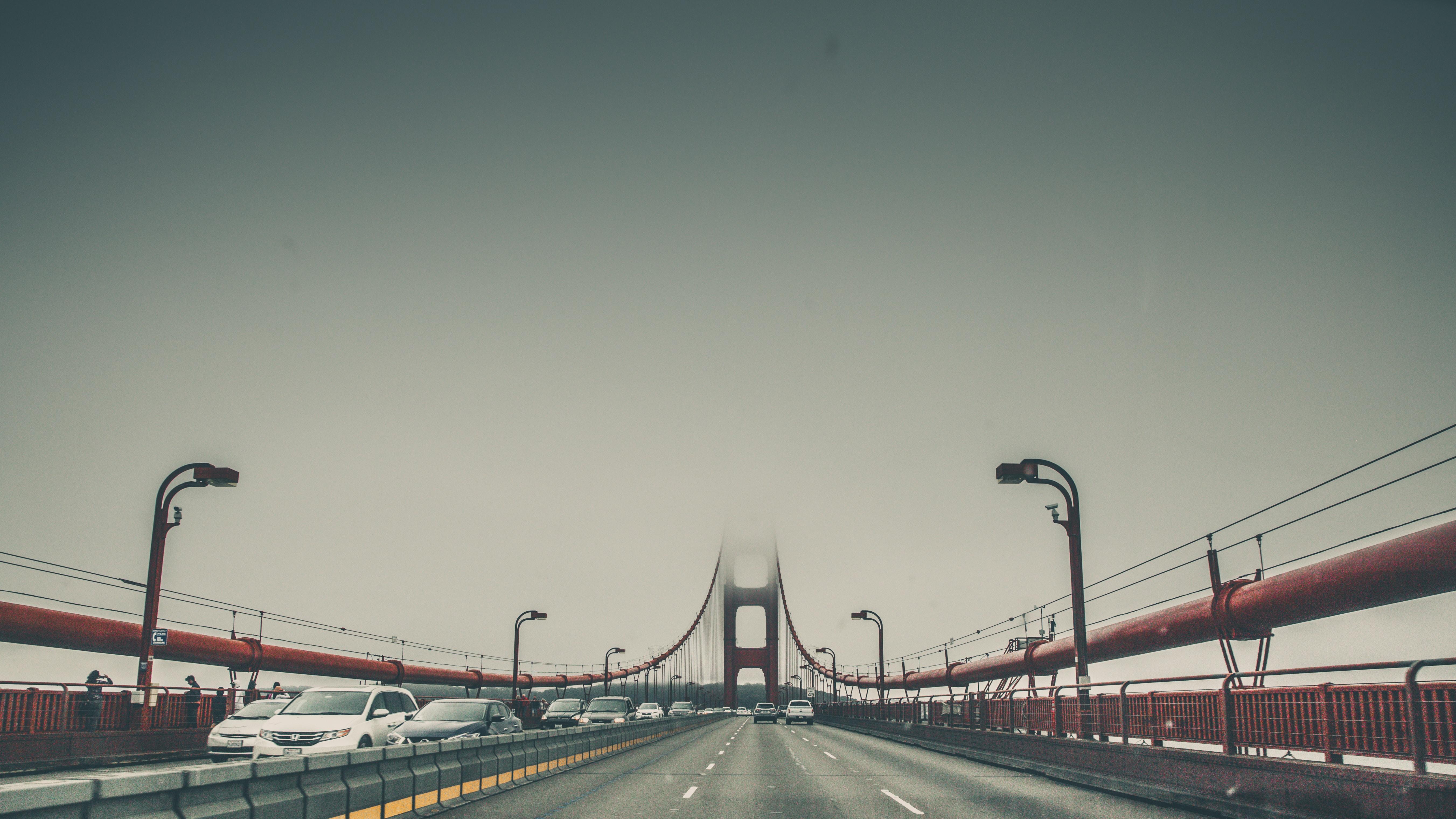 Driving POV on suspension bridge.