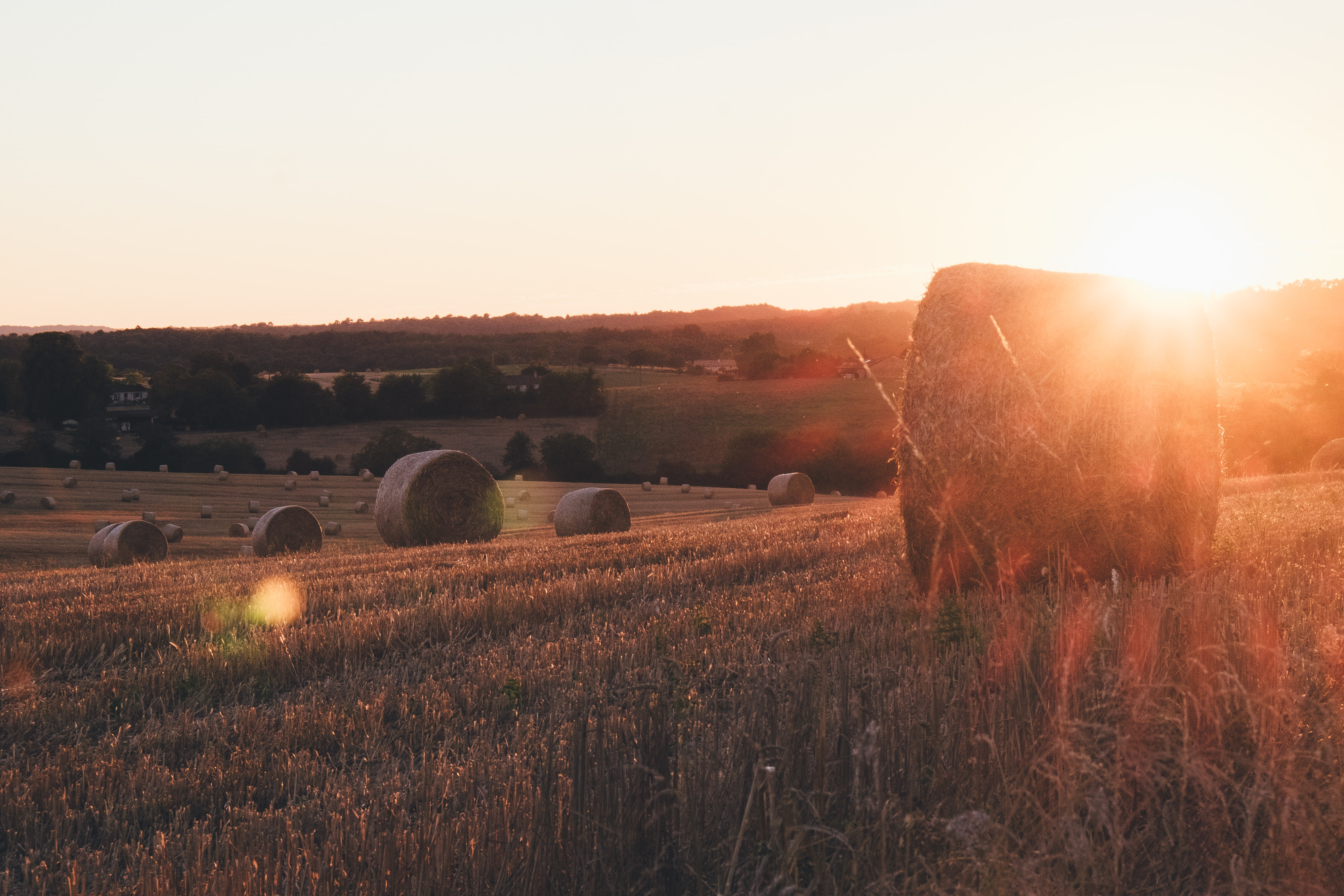 Sunset over peaceful pastures with bales of hay in Bourdeilles